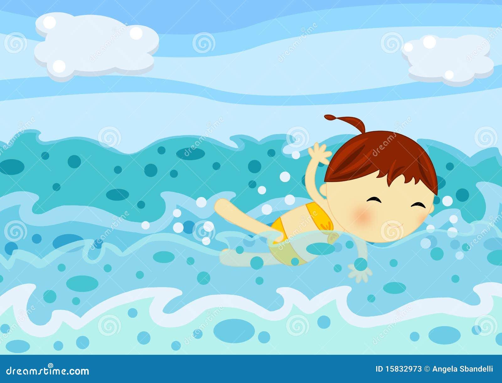 Nuoto sveglio della bambina fra le onde del mare for Clipart mare