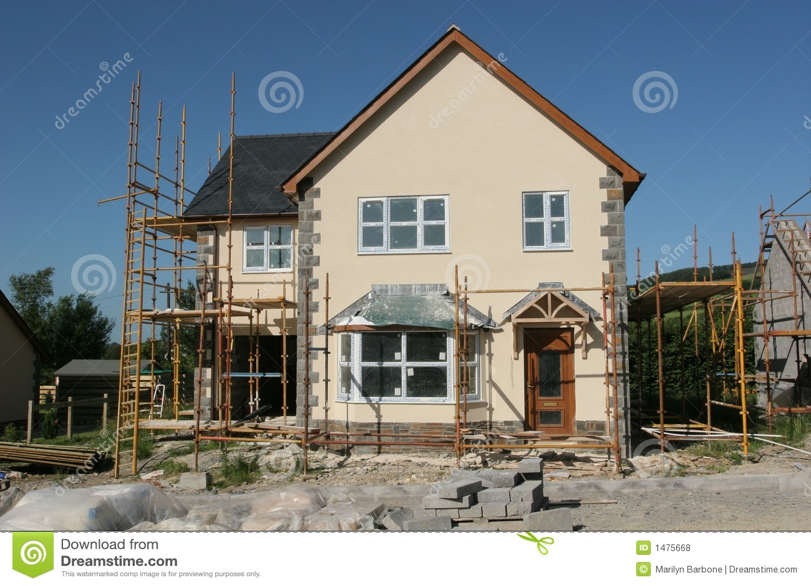 nuova casa in costruzione fotografie stock libere da