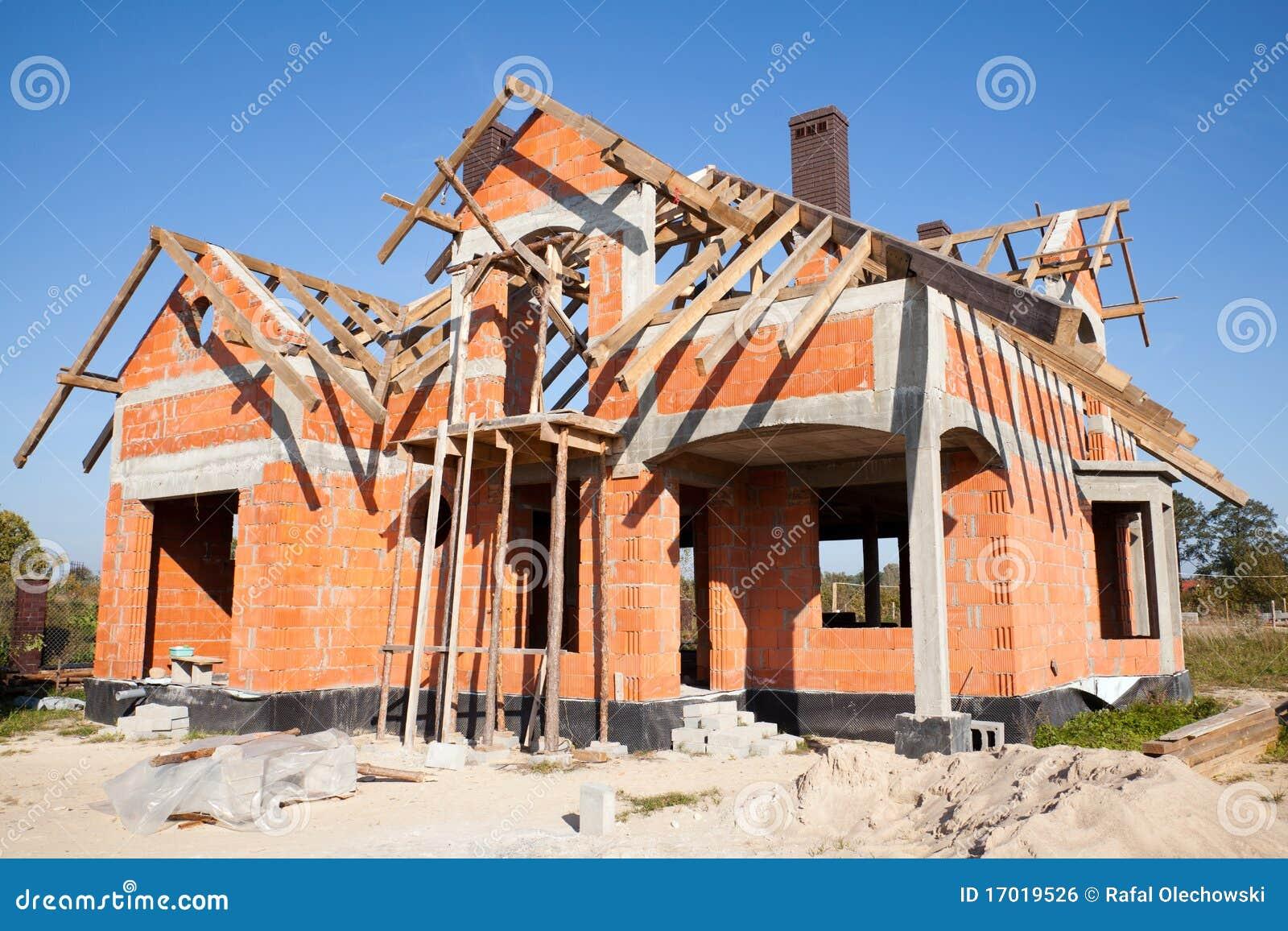 Nuova casa in costruzione fotografia stock immagine di for Casa di costruzione personalizzata