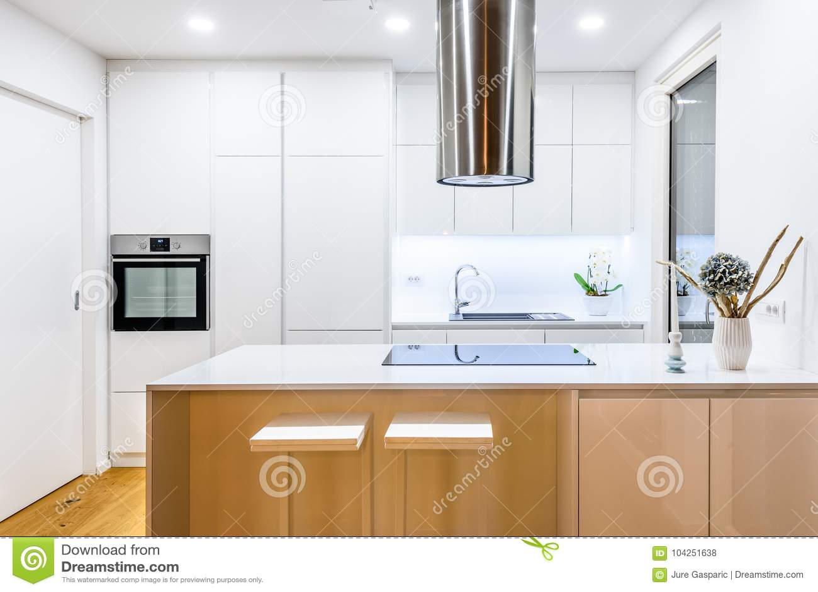 Nuova Cucina Bianca Moderna Di Interior Design Con Gli ...