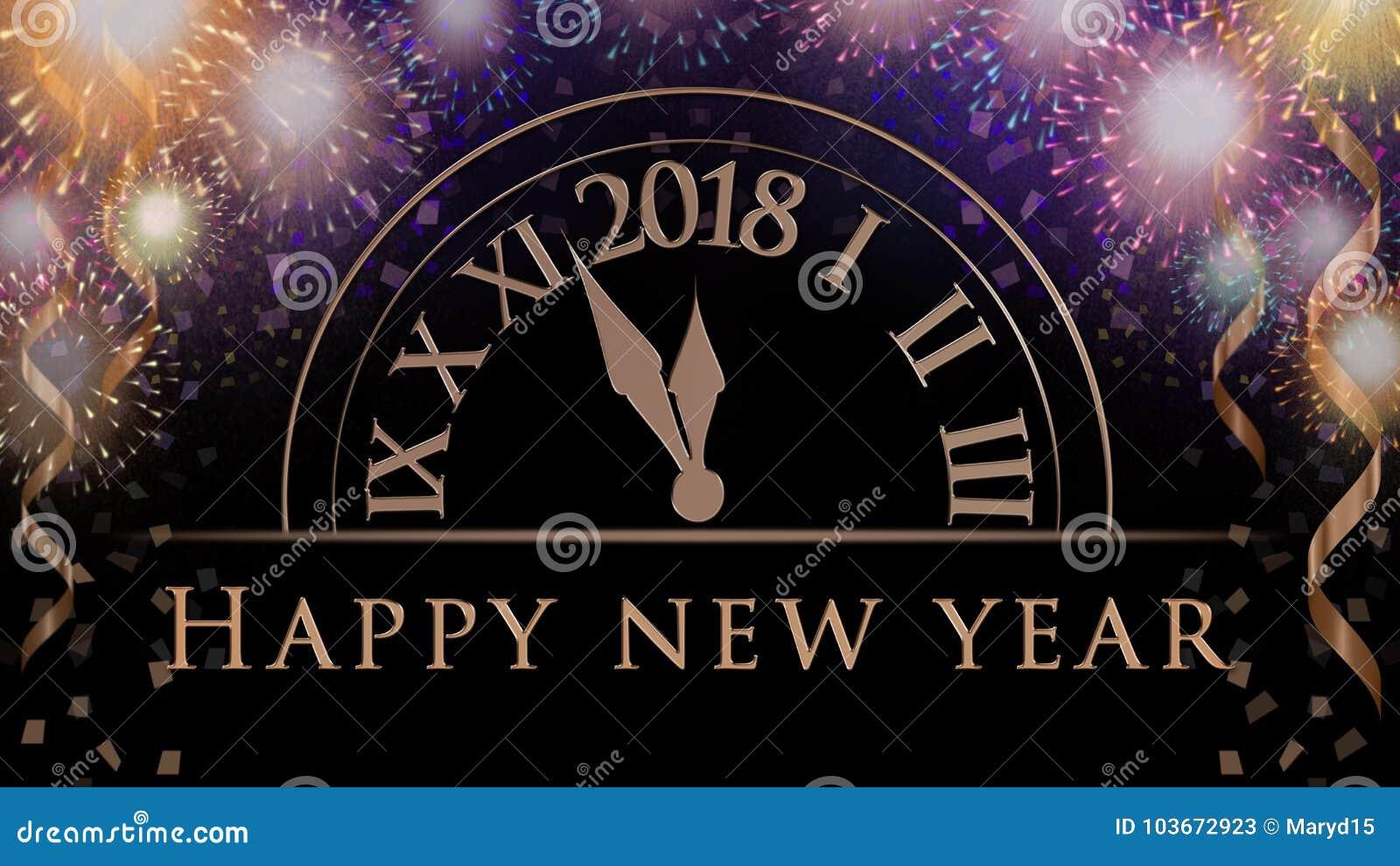 Nuovi anni di vigilia di fondo con i fuochi d artificio variopinti del partito, orologio con 2018, testo di celebrazione