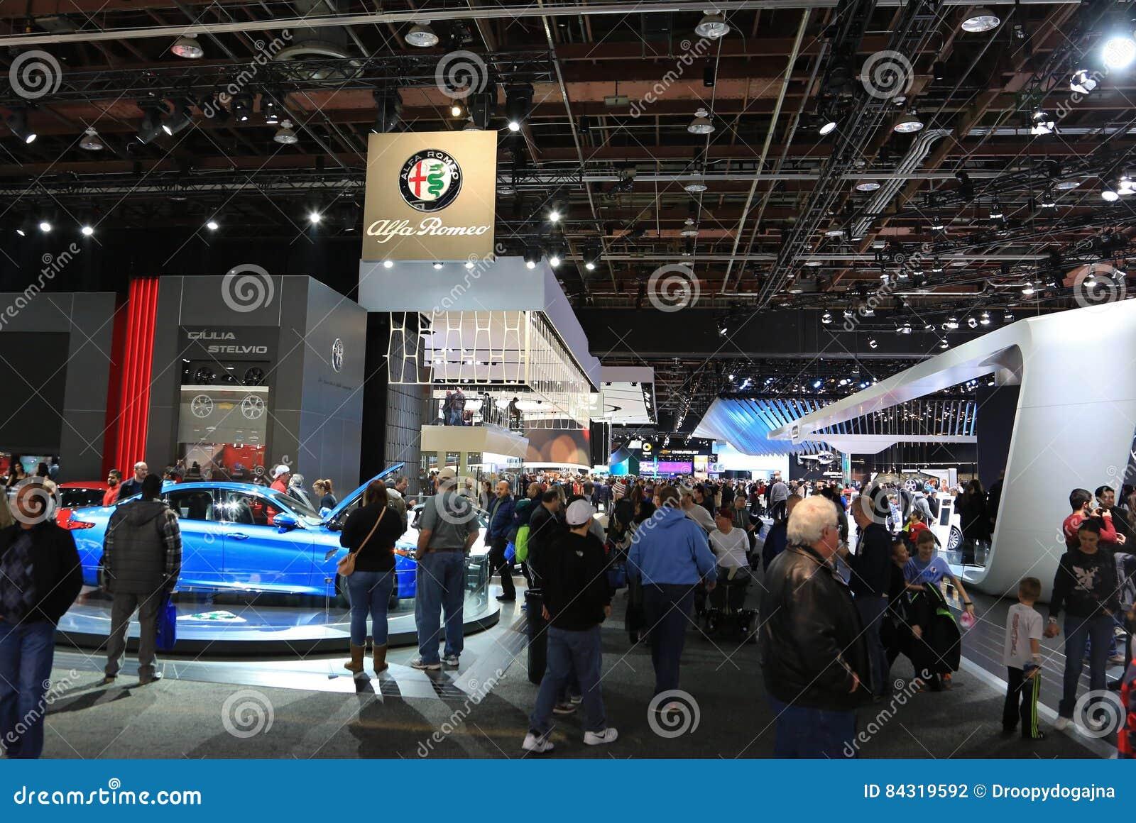 Nuovi veicoli 2018 di Alfa Romeo su esposizione all esposizione automatica internazionale nordamericana