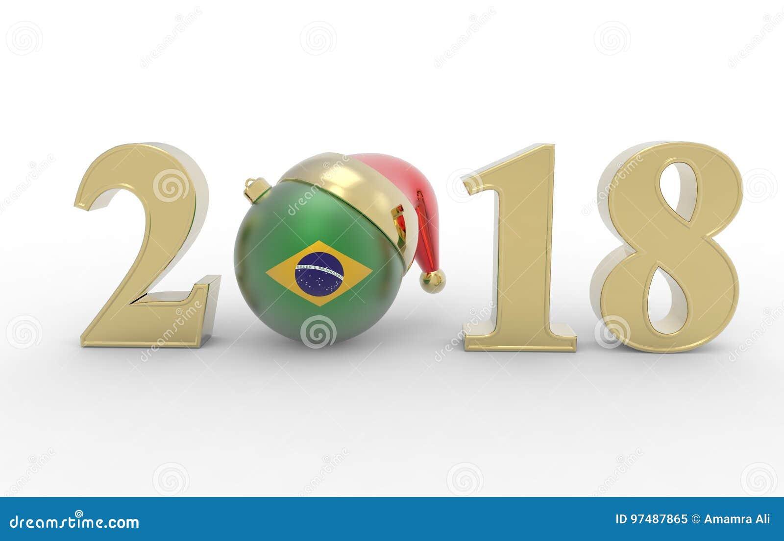 Nuovo anno 2018 con la bandiera 3d del brizil