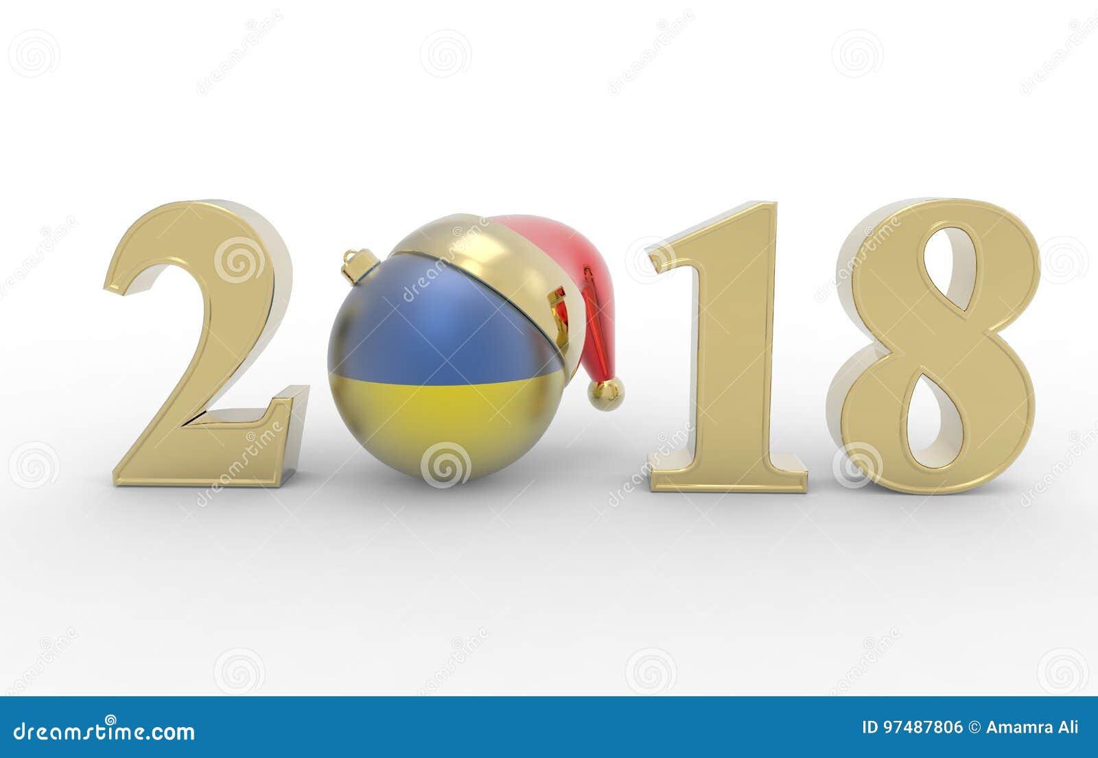 Nuovo anno 2018 con la bandiera 3d del ukranie