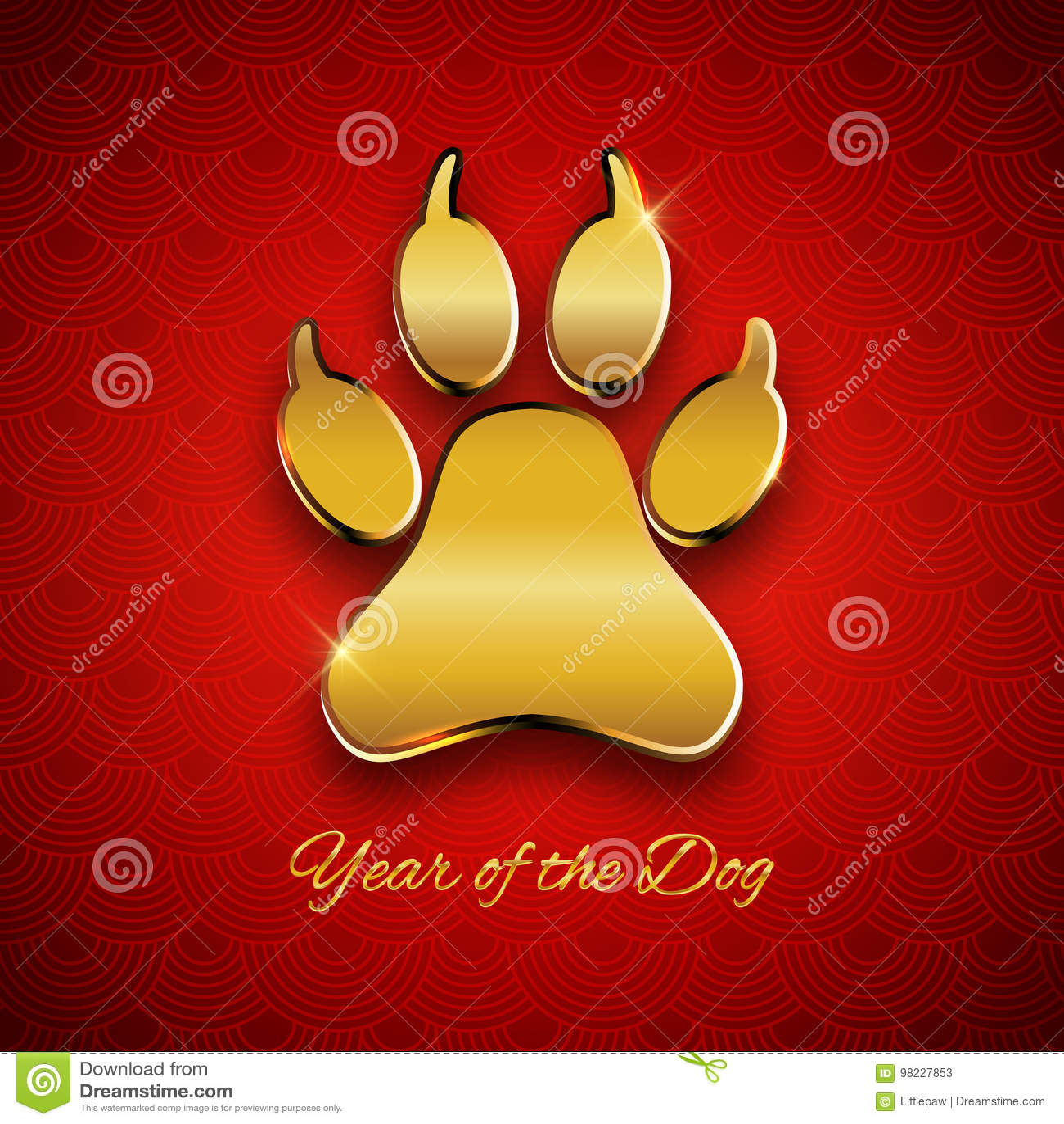 Nuovo anno della cartolina di festa del cane con l orma della zampa, te dell oro