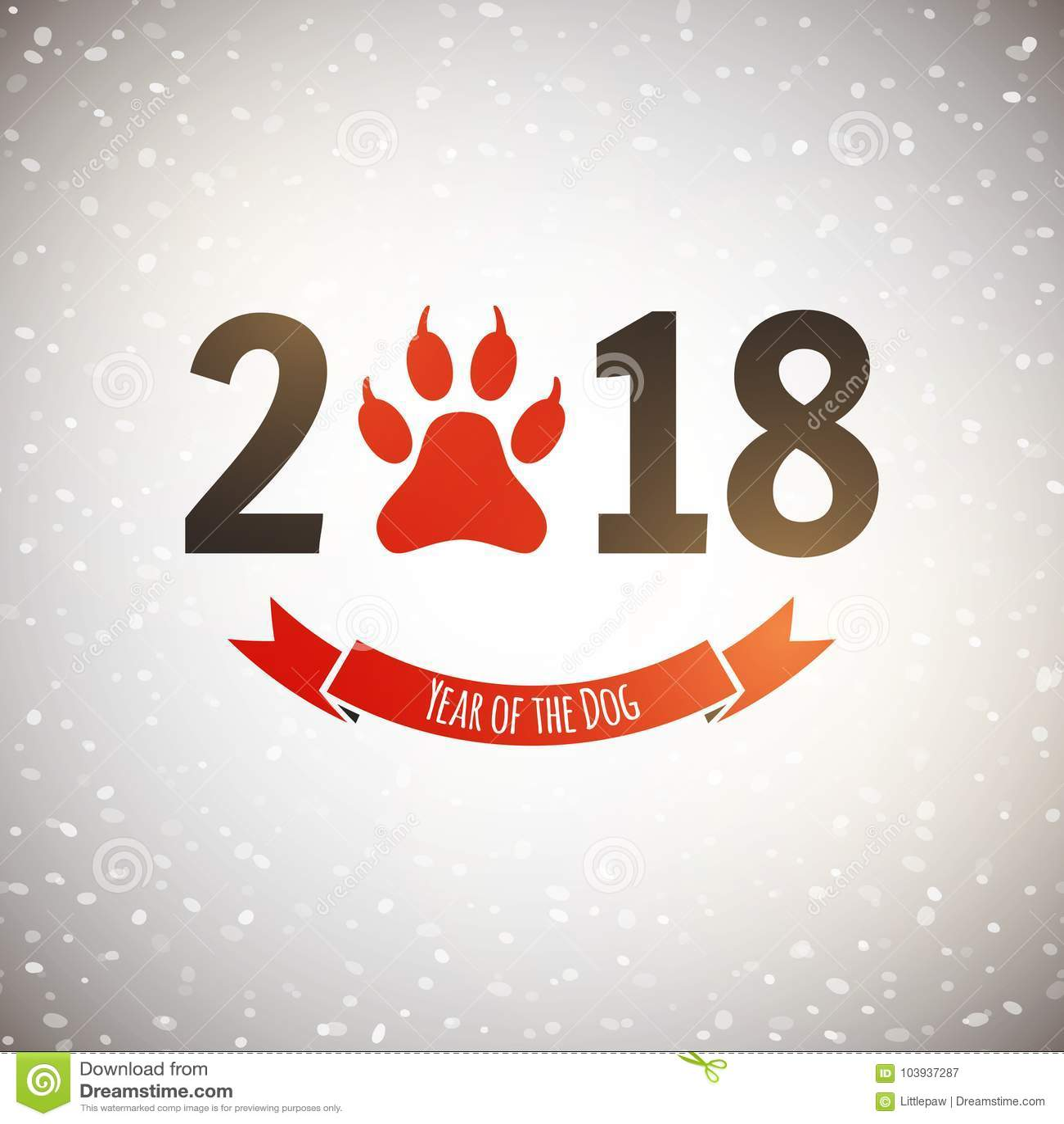 Nuovo anno della cartolina di festa del cane con l orma della zampa, vettore