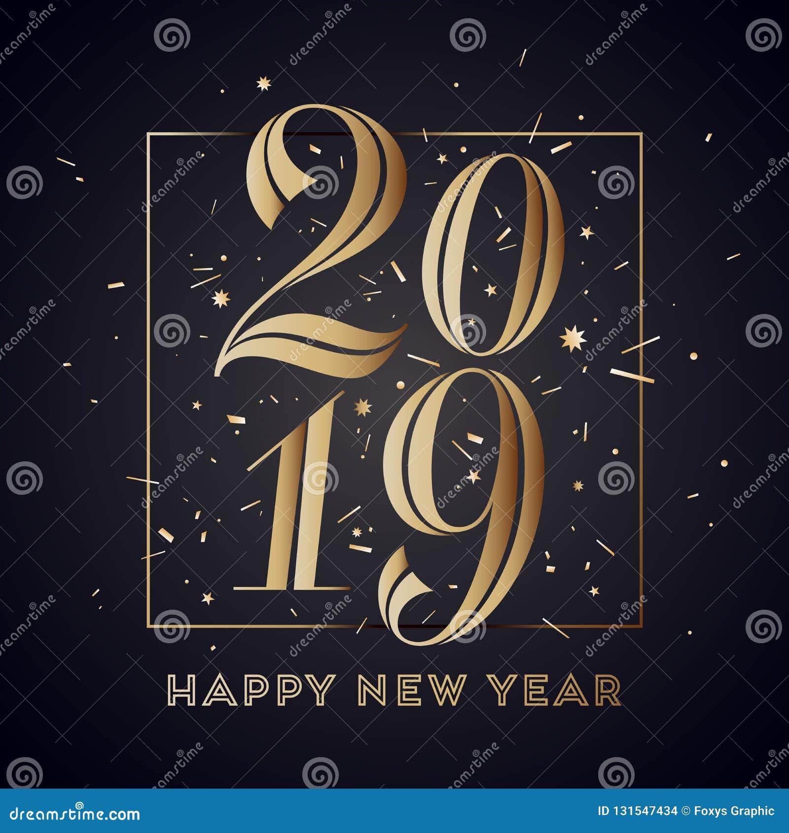2019 Nuovo Anno Felice Cartolina D Auguri Con Il Buon Anno