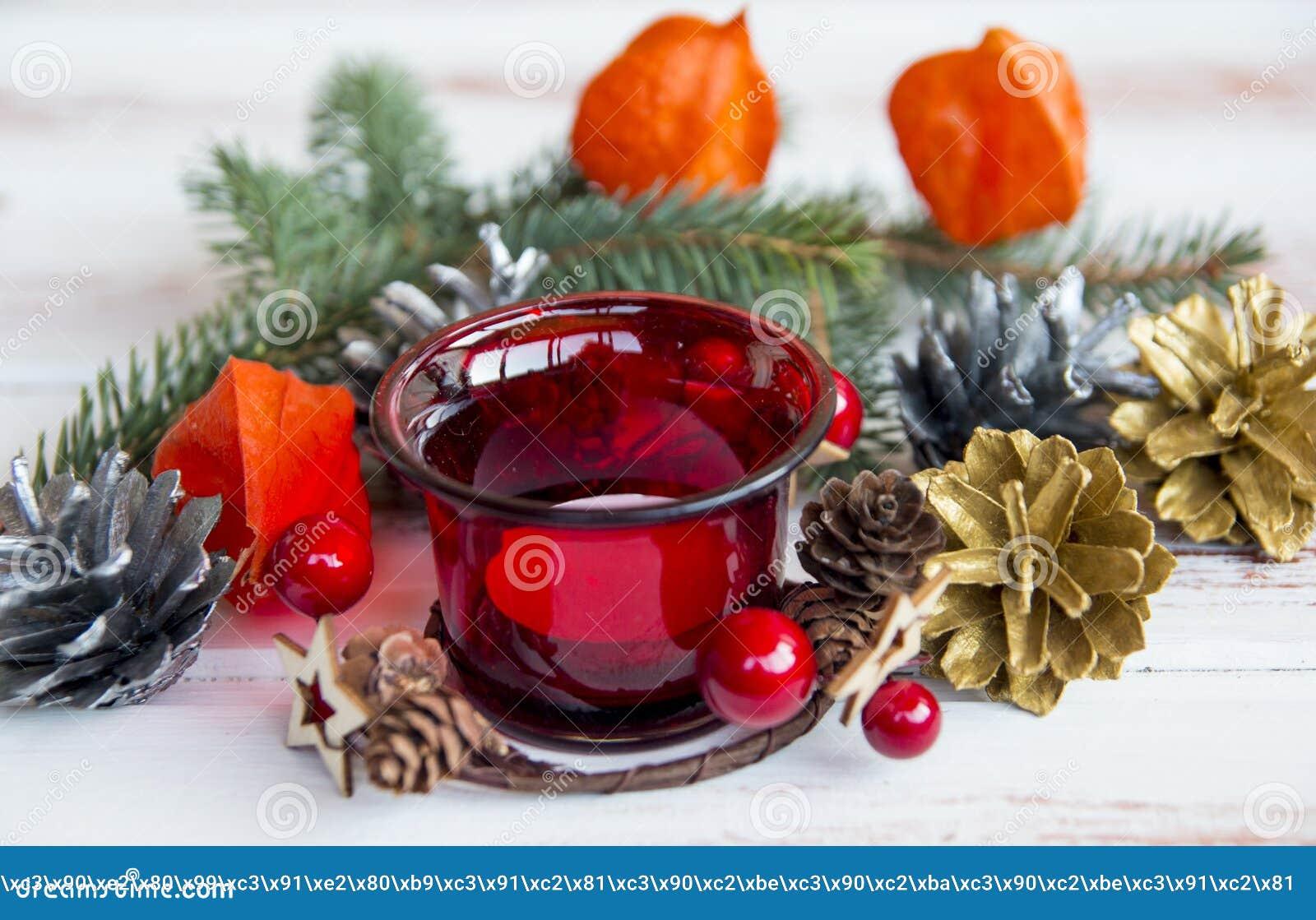 Nuovo anno Supporto di candela decorato rosso di Natale Decorazioni dell albero di Natale