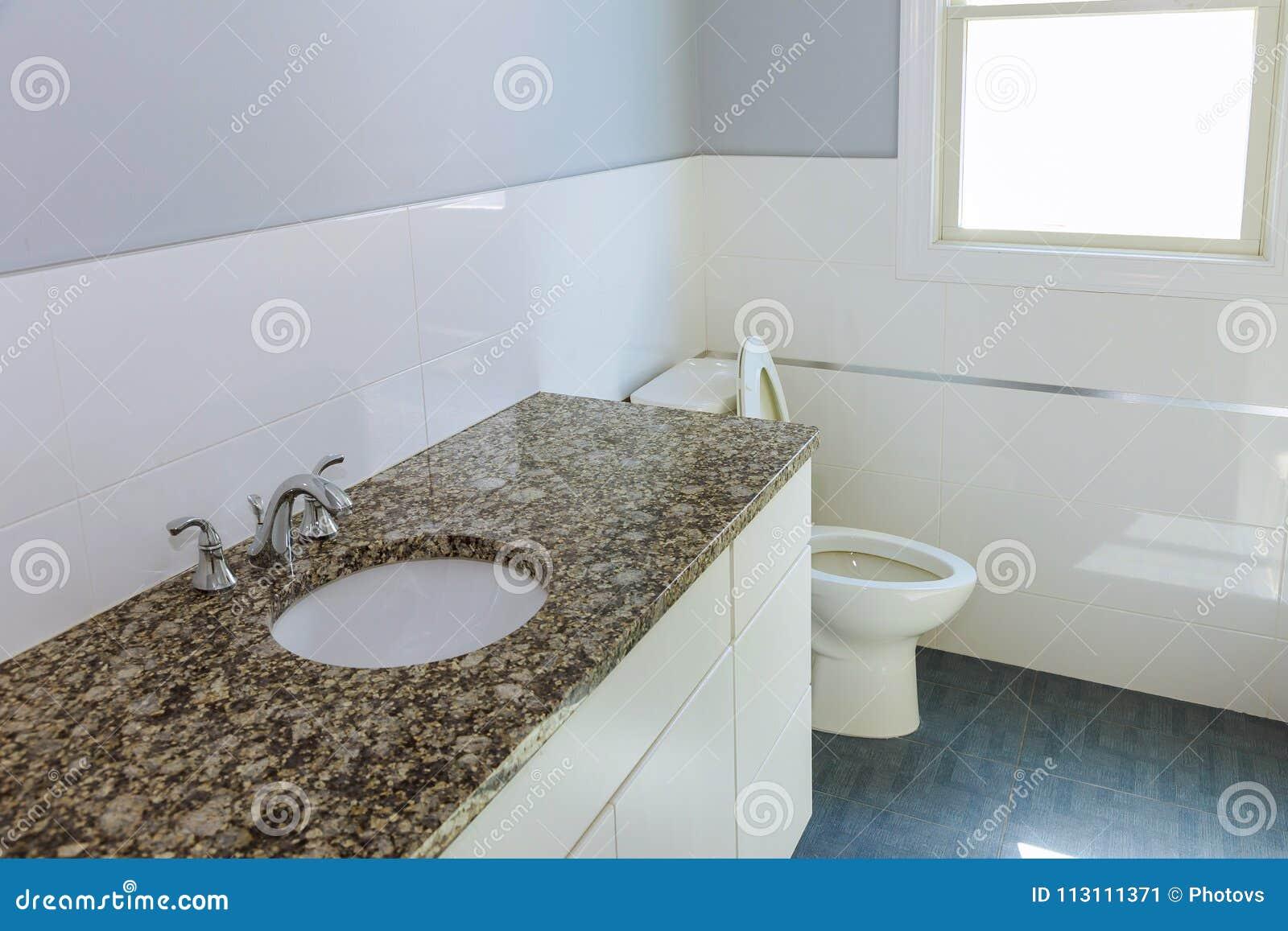 Nuovo bagno moderno con le mattonelle beige ed il - Bagno marrone e beige ...