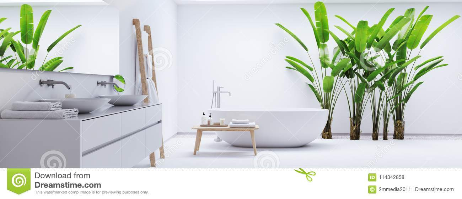 Nuovo bagno moderno di zen con le piante tropicali rappresentazione 3d