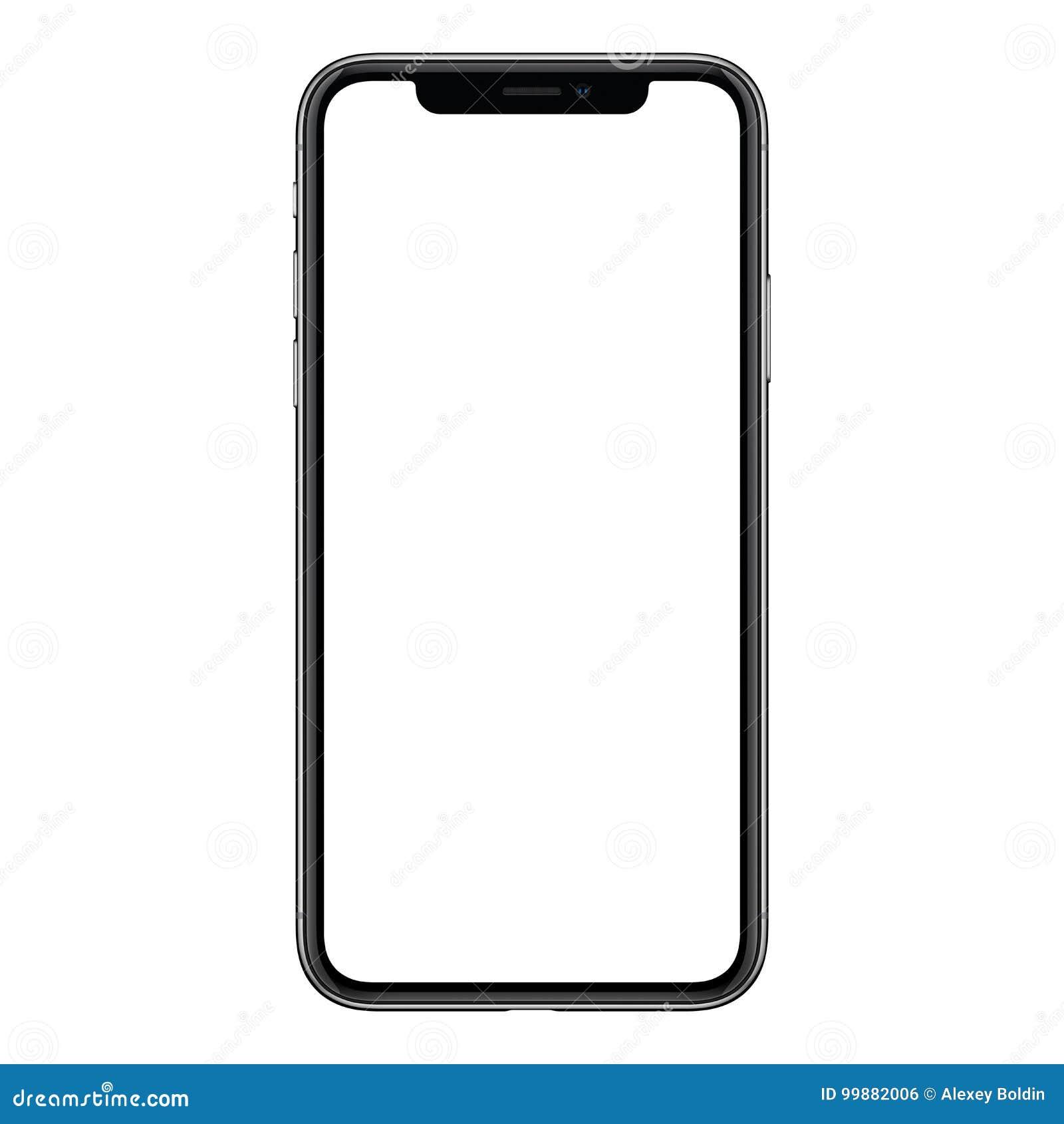 Nuovo modello frameless moderno dello smartphone con lo schermo bianco isolato su fondo bianco