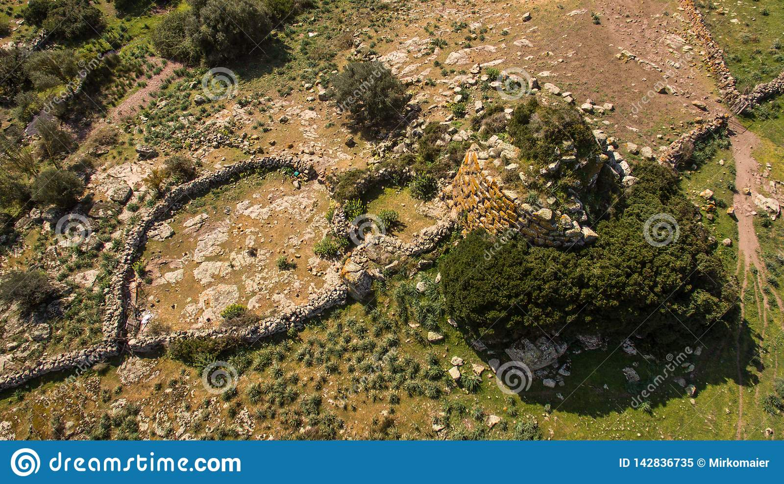 Nuraghe in Sardinia seen with drone