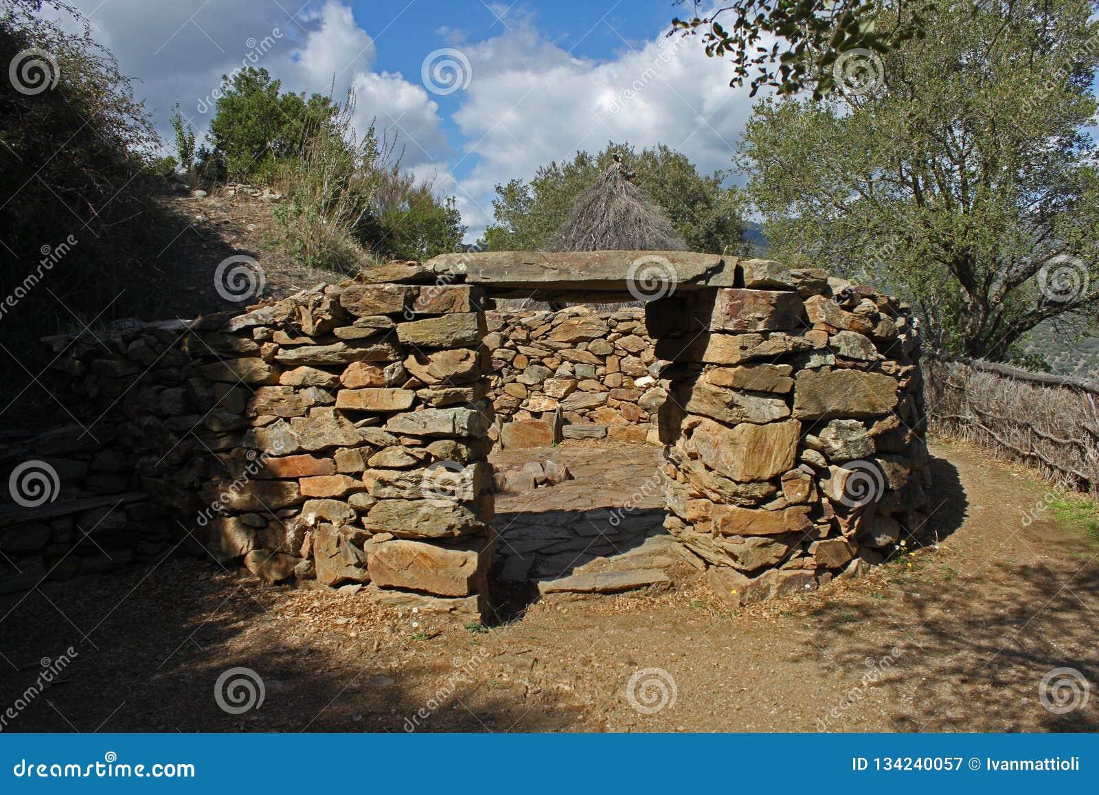 Nuraghic stone house at Su Tempiesu close to Orune on Sardinia
