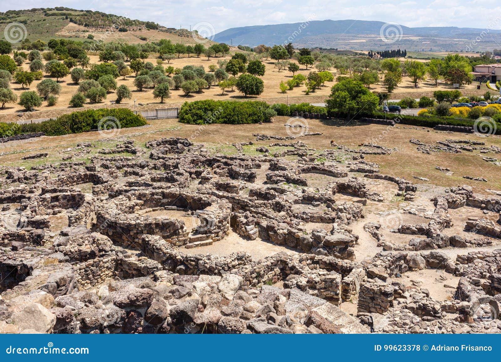 Nuragic ruins of the archaeological site of Barumini in Sardinia