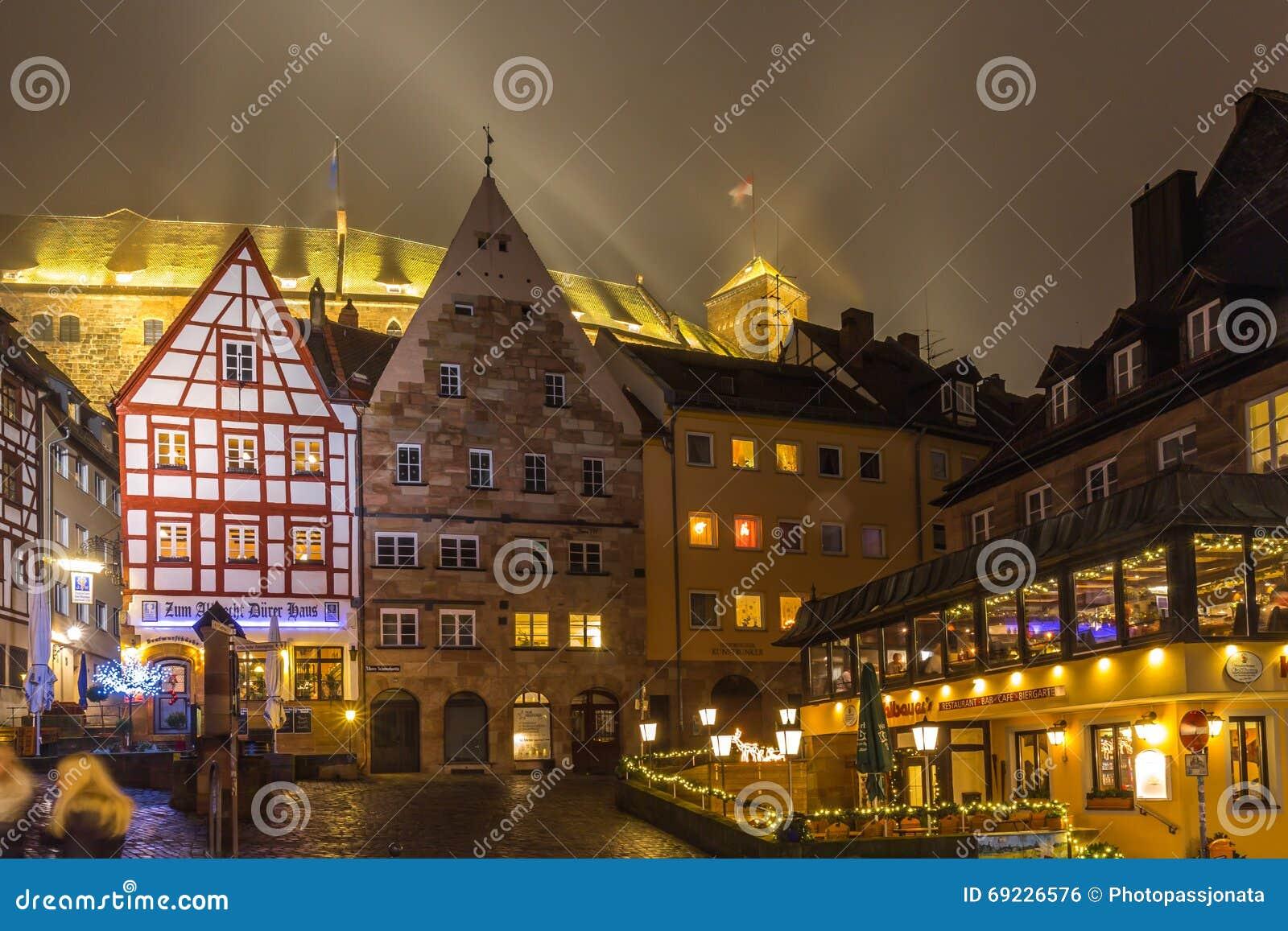 Nuremberg- foggy night-old town