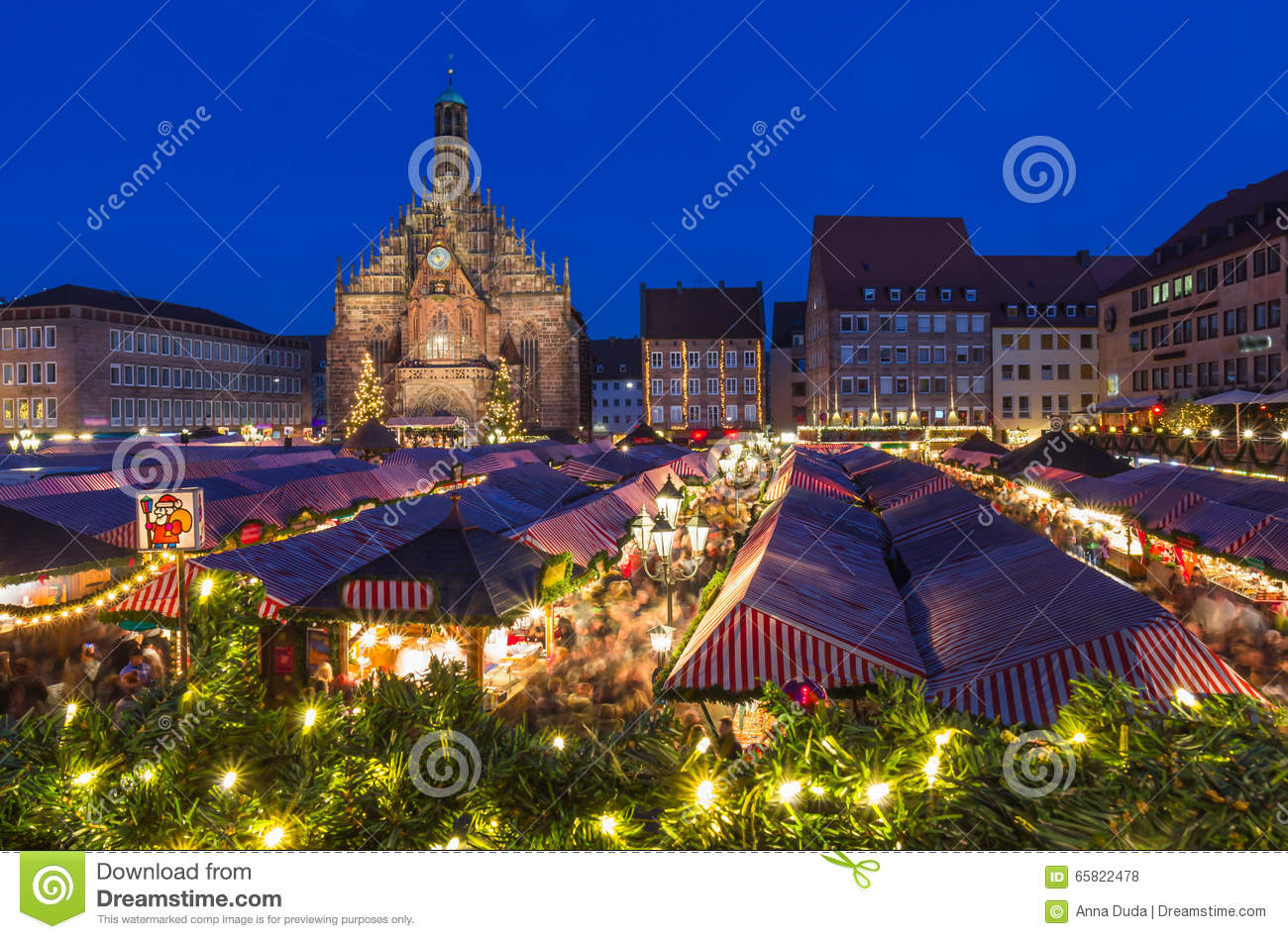 Nuremberg-Germany-Christmas Market-evening cityscape