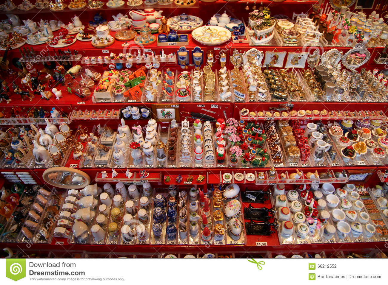 NUREMBERG, GERMANY - DECEMBER 23, 2013: A lot of miniature traditional German toys for doll houses. Nuremberg, Germany