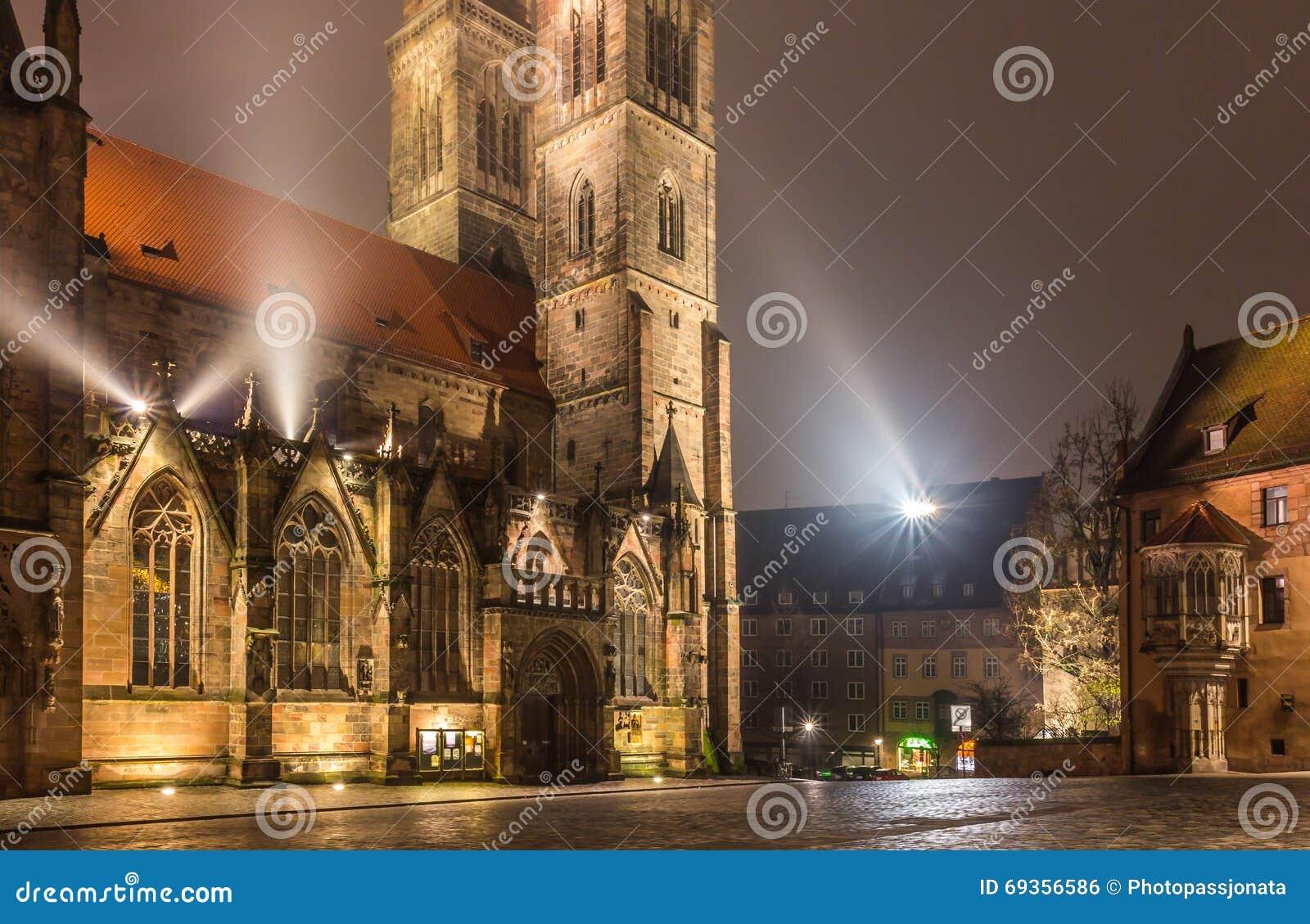 Nuremberg-Germany- foggy night- Sebaldus church