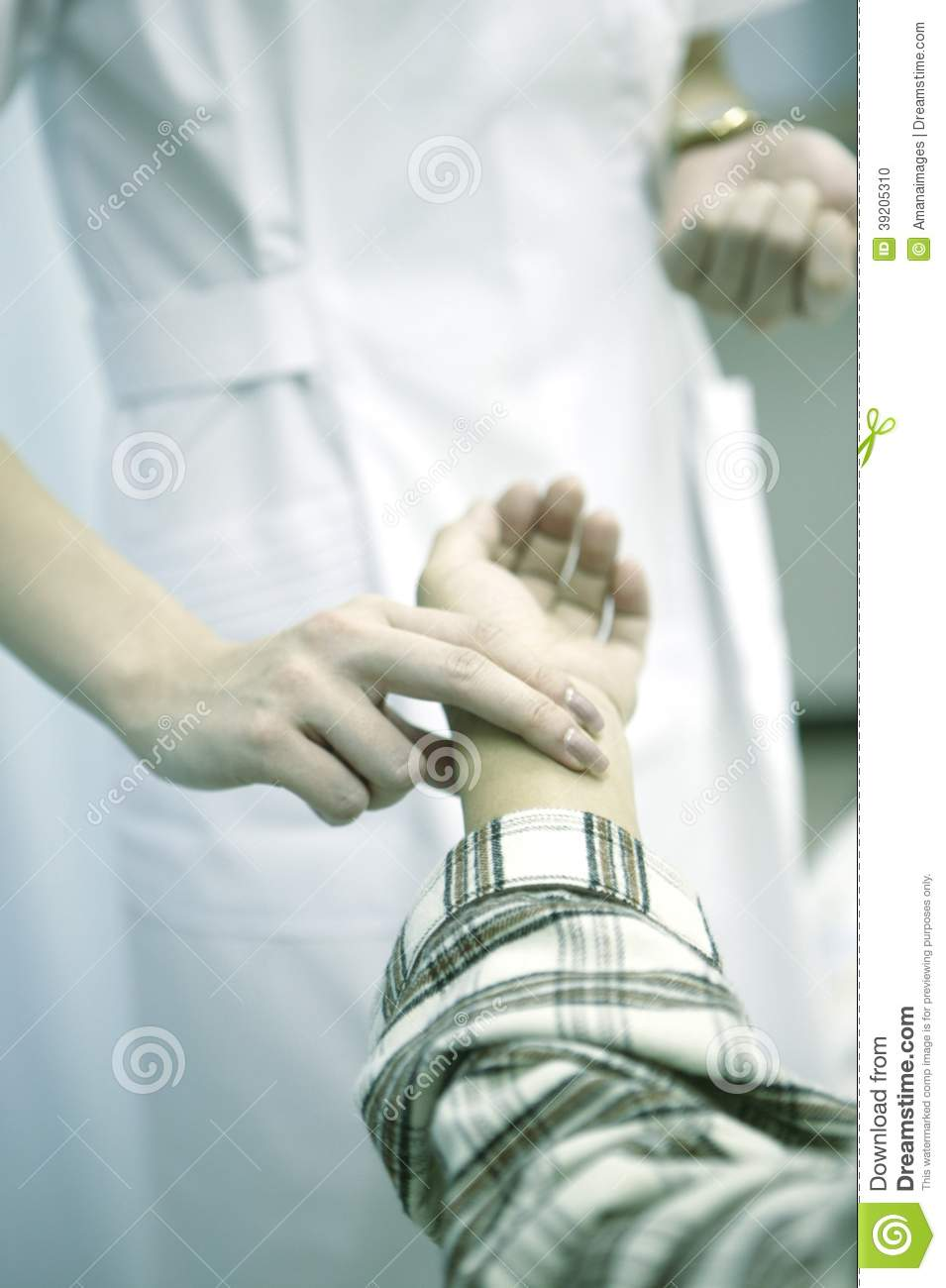 Asian Nurse Check Patient Pulse By Close Up Shotting Stock