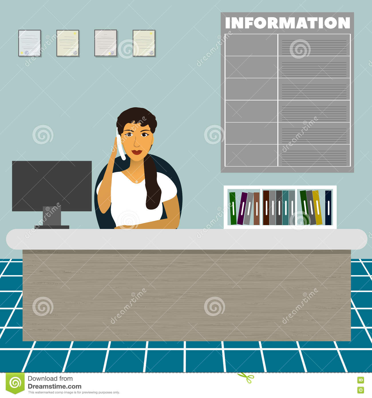 office administrator job duties meeting travel planner executive nurse consultative administrator office worker secretary sitting at the table at the reception and talk on