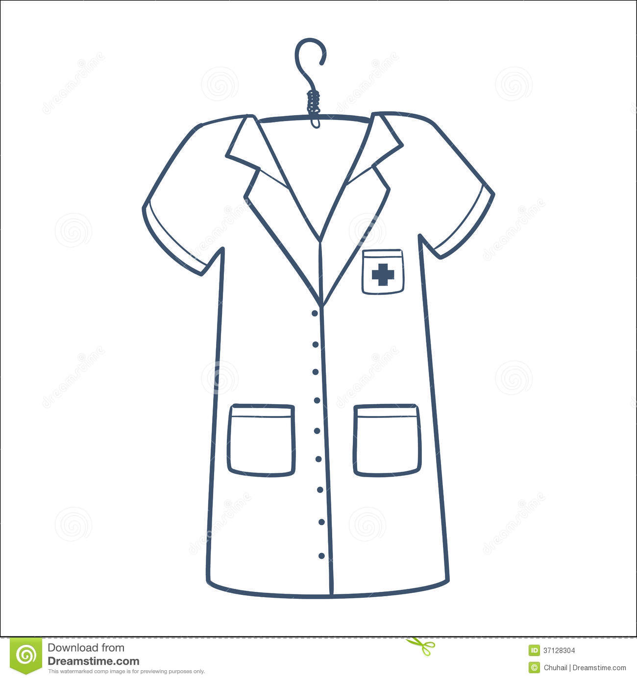 Line Art Uniform : Nurse or doctor uniform isolated on white stock vector