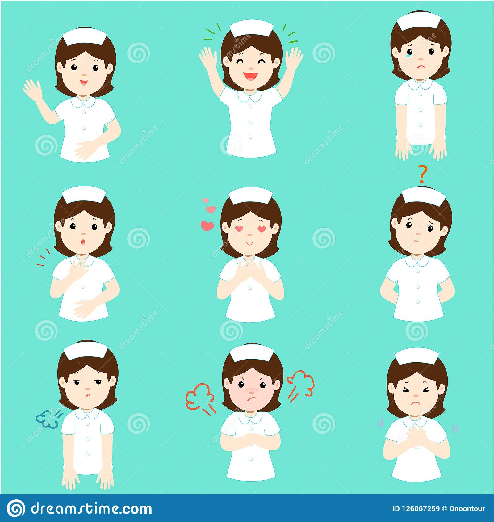 a07373aa9adc4 Nurse With Different Emotions Cartoon Vector. Stock Vector ...