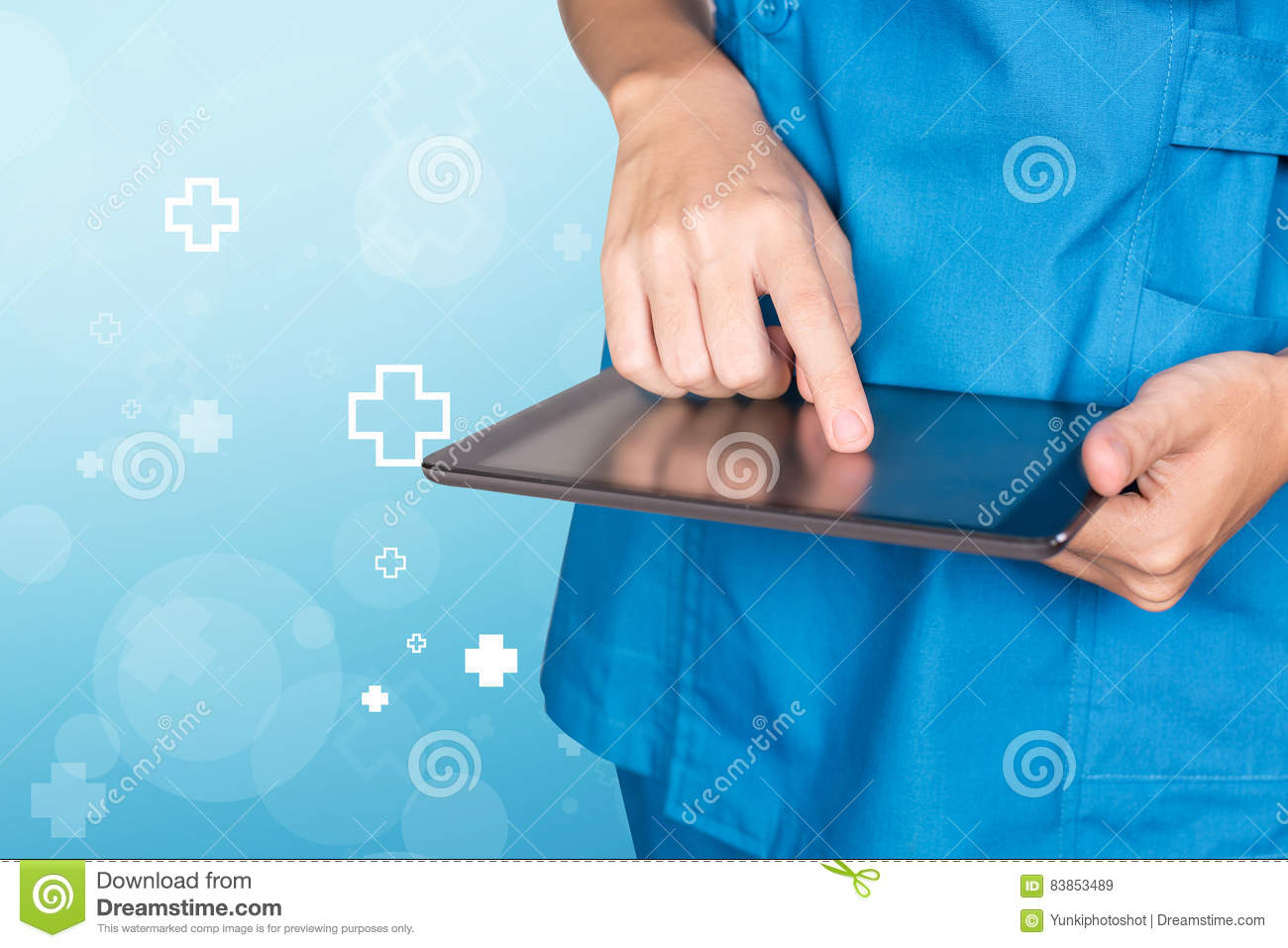 Nurse female doctor hand using tablet with blue hospital icon ab