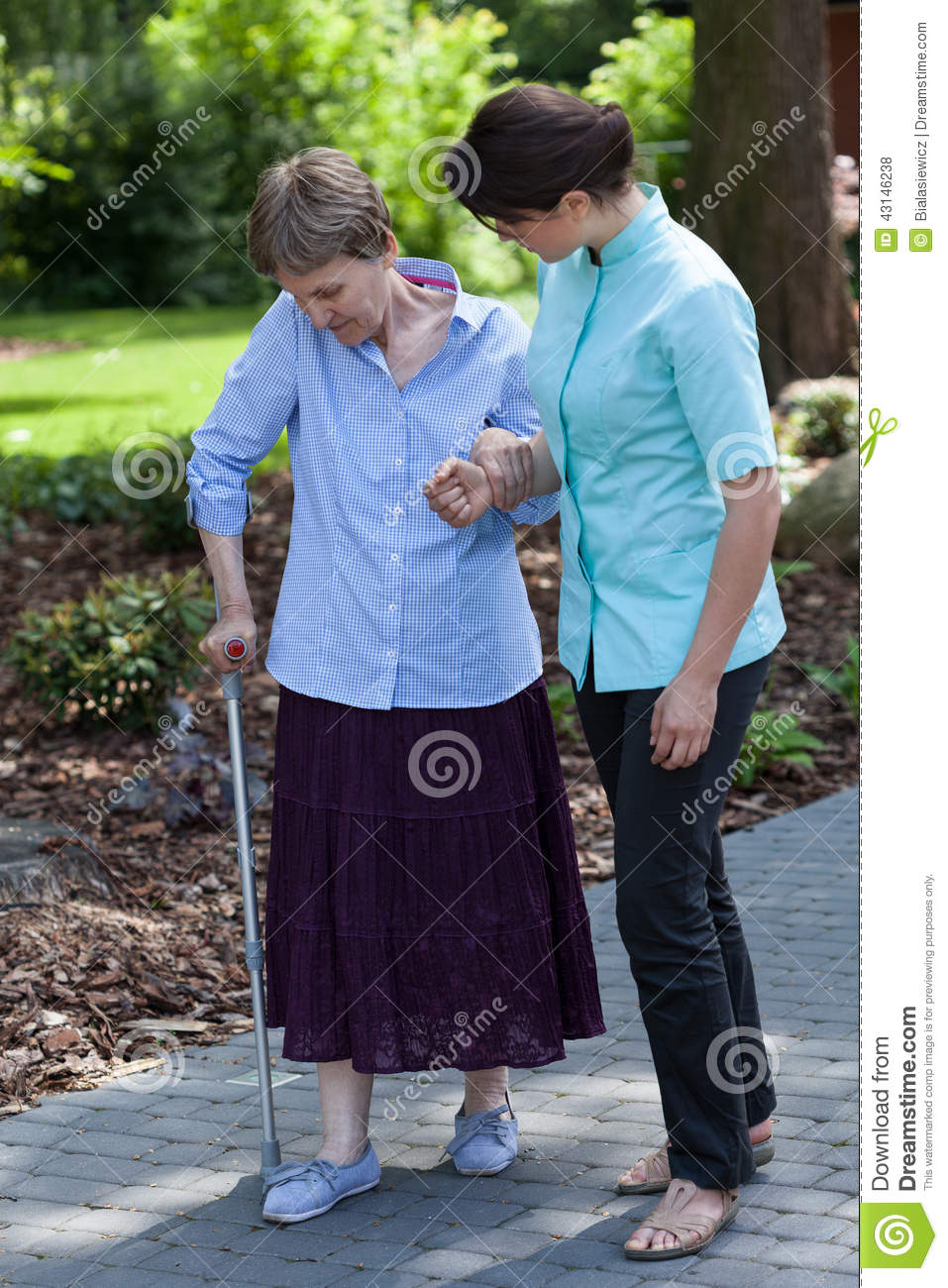 nurse goes for a walk with the old lady stock photo image 43146238. Black Bedroom Furniture Sets. Home Design Ideas