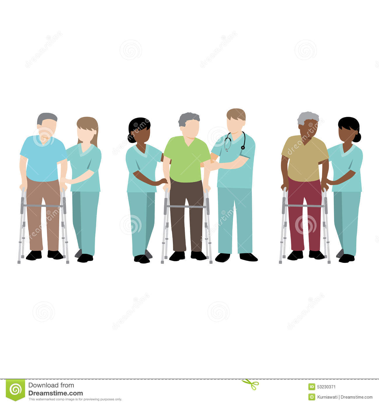 nurse helping patient with a walker stock vector image 53230371
