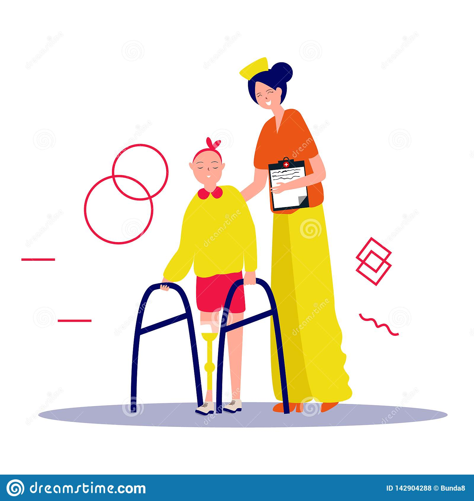 Nurse helps patient to go to the walker. Caring for the disabled person. Vector illustration in a flat style