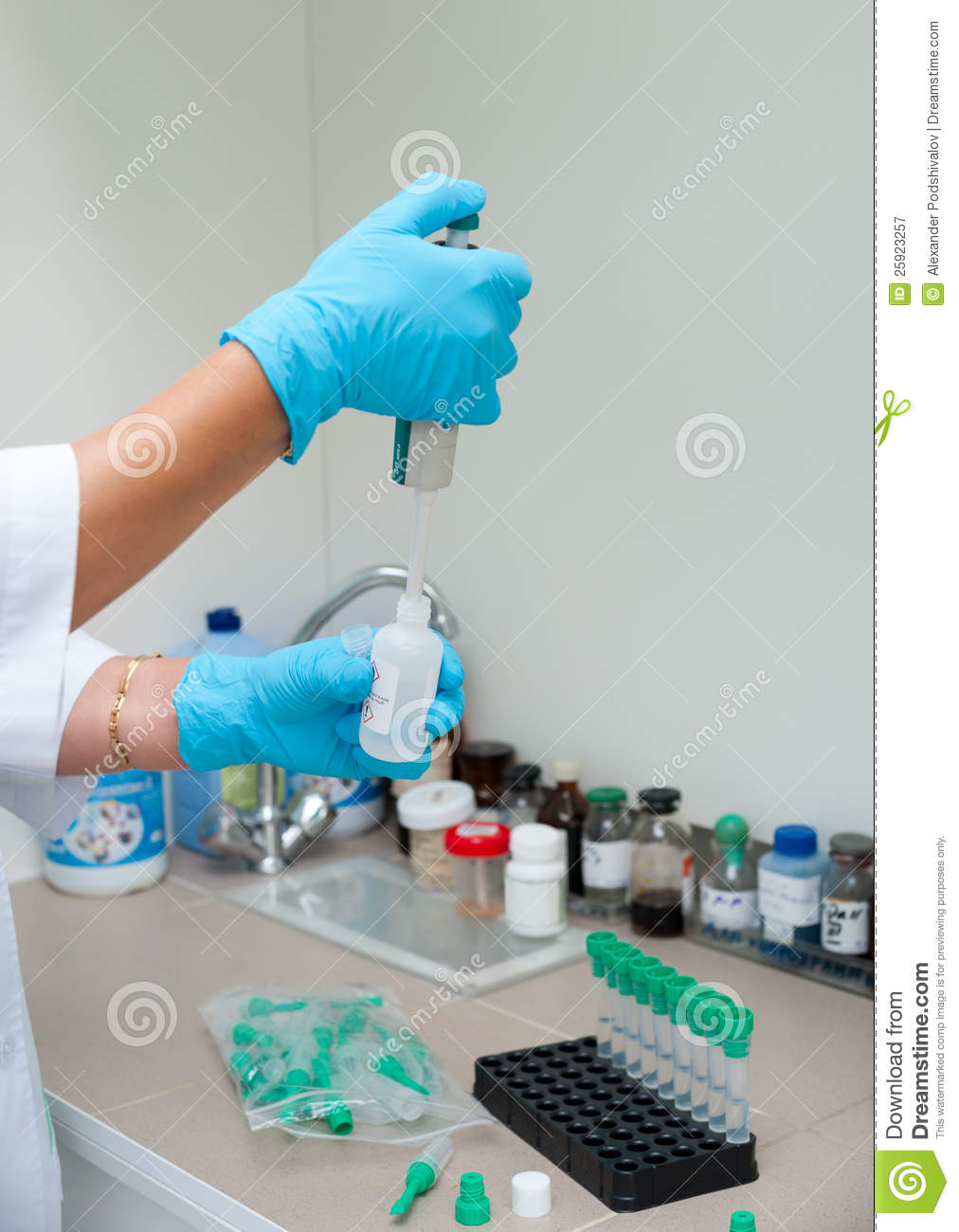 Nurse makes laboratory analysis