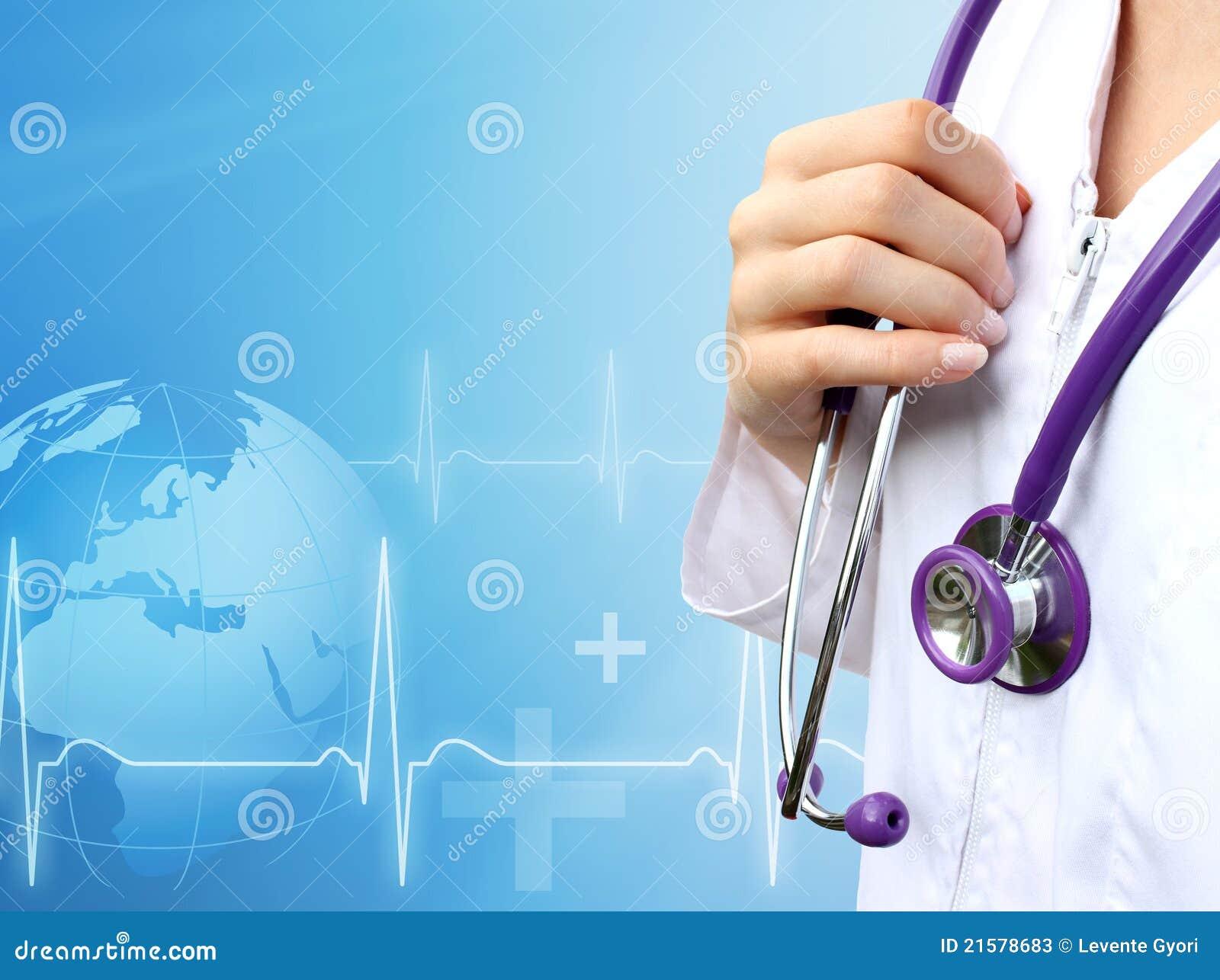 Nurse With Medical Blue Background Stock Image