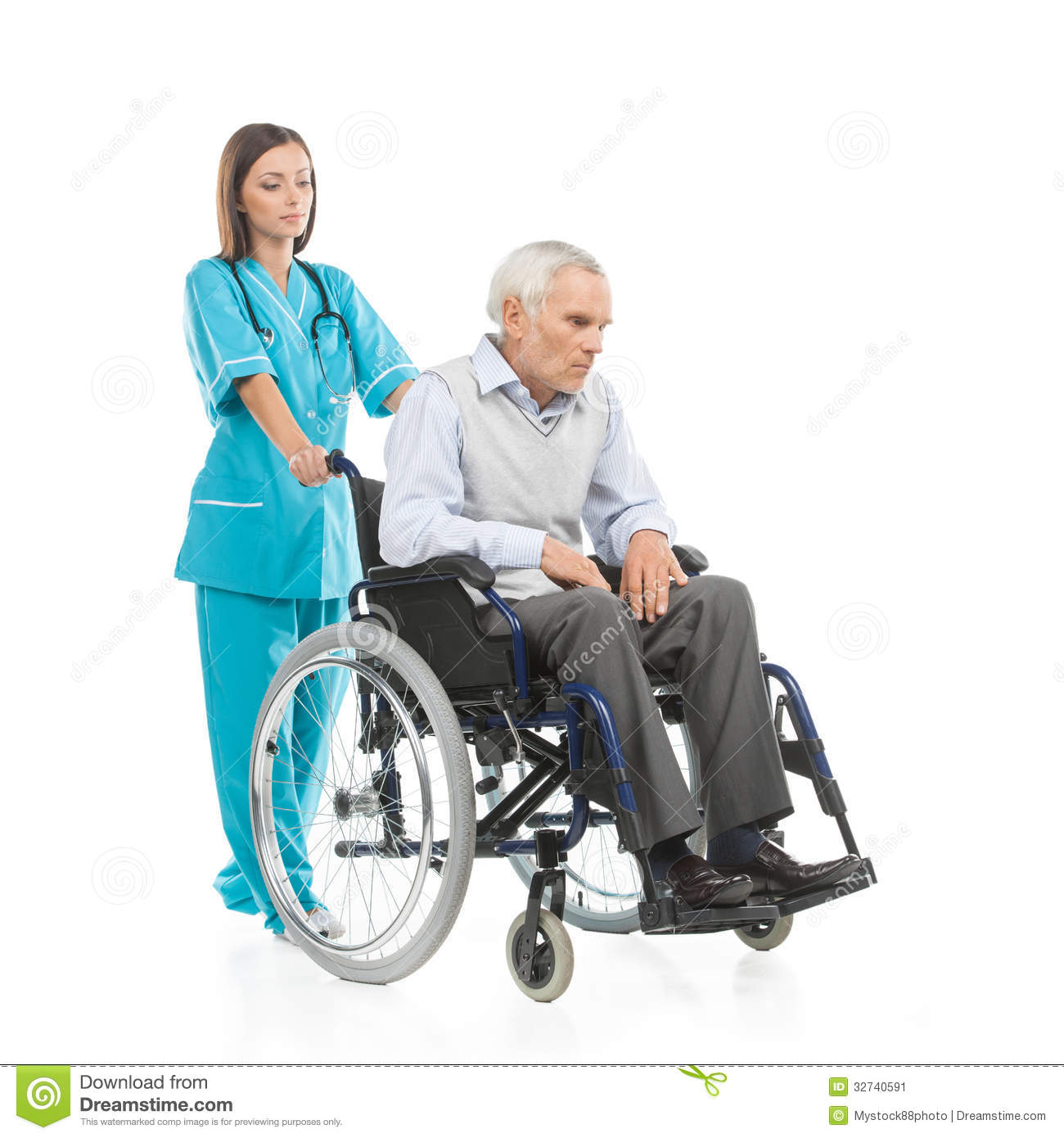 Confident young nurse walking with patient sitting on the wheelchair ...