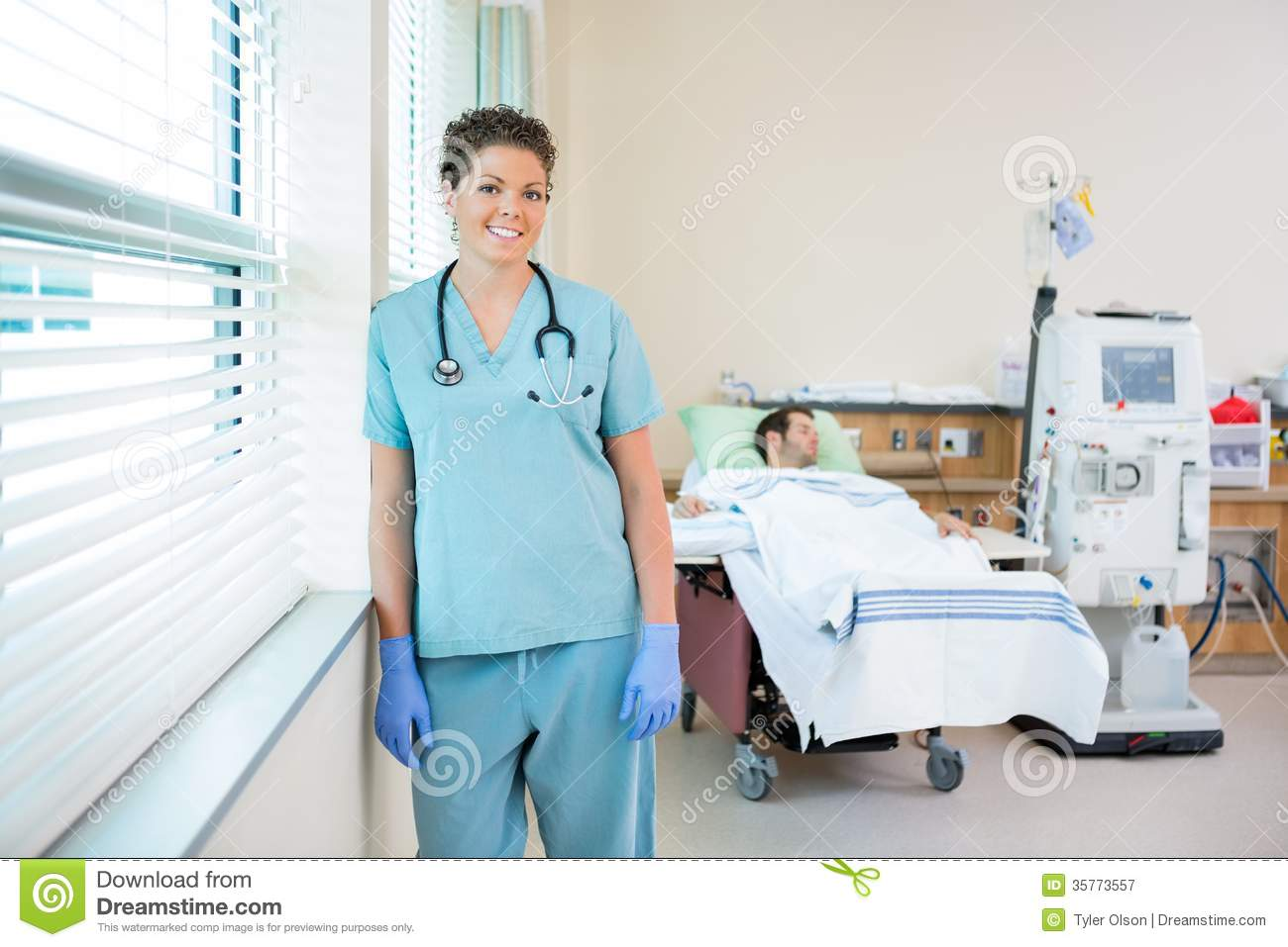 nurse with patient receiving renal dialysis in royalty