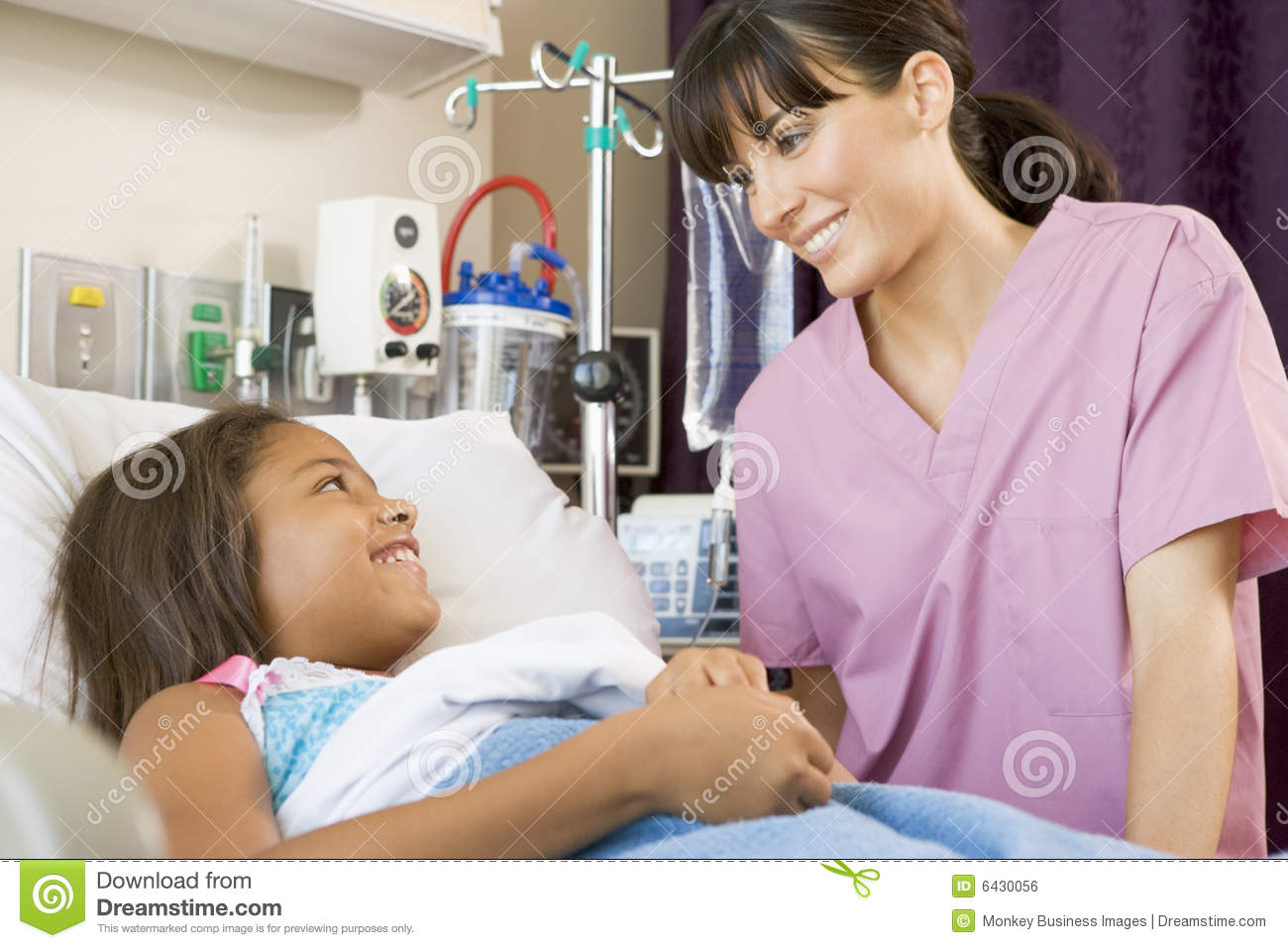 Nurse patient talking to young