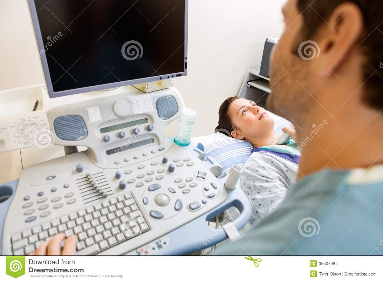 Nurse Performing Ultrasound Procedure Stock Images