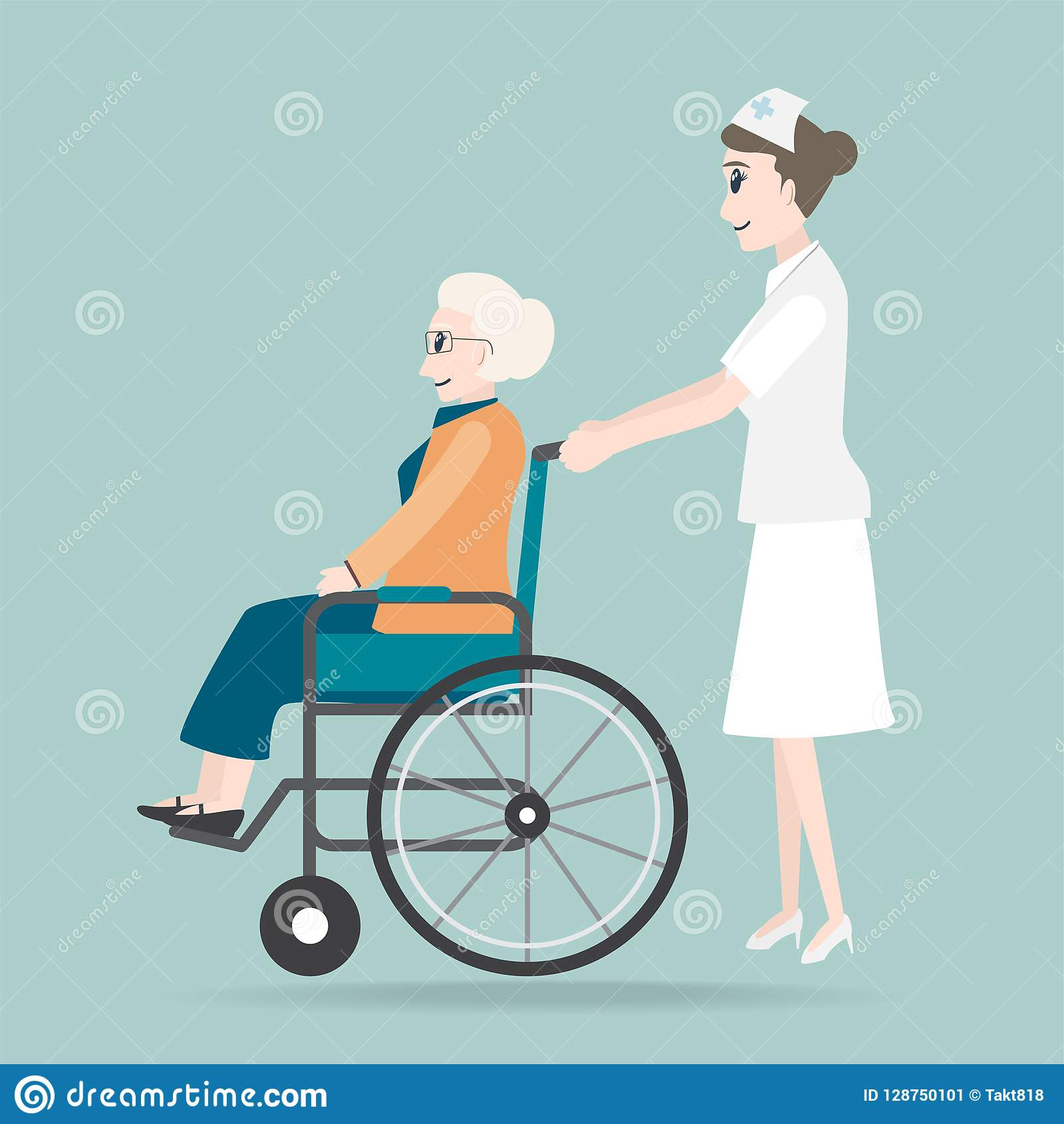 D Person Pushing Wheelchair Stock Illustrations