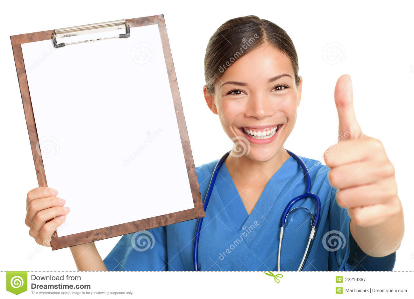 Nurse showing blank clipboard sign