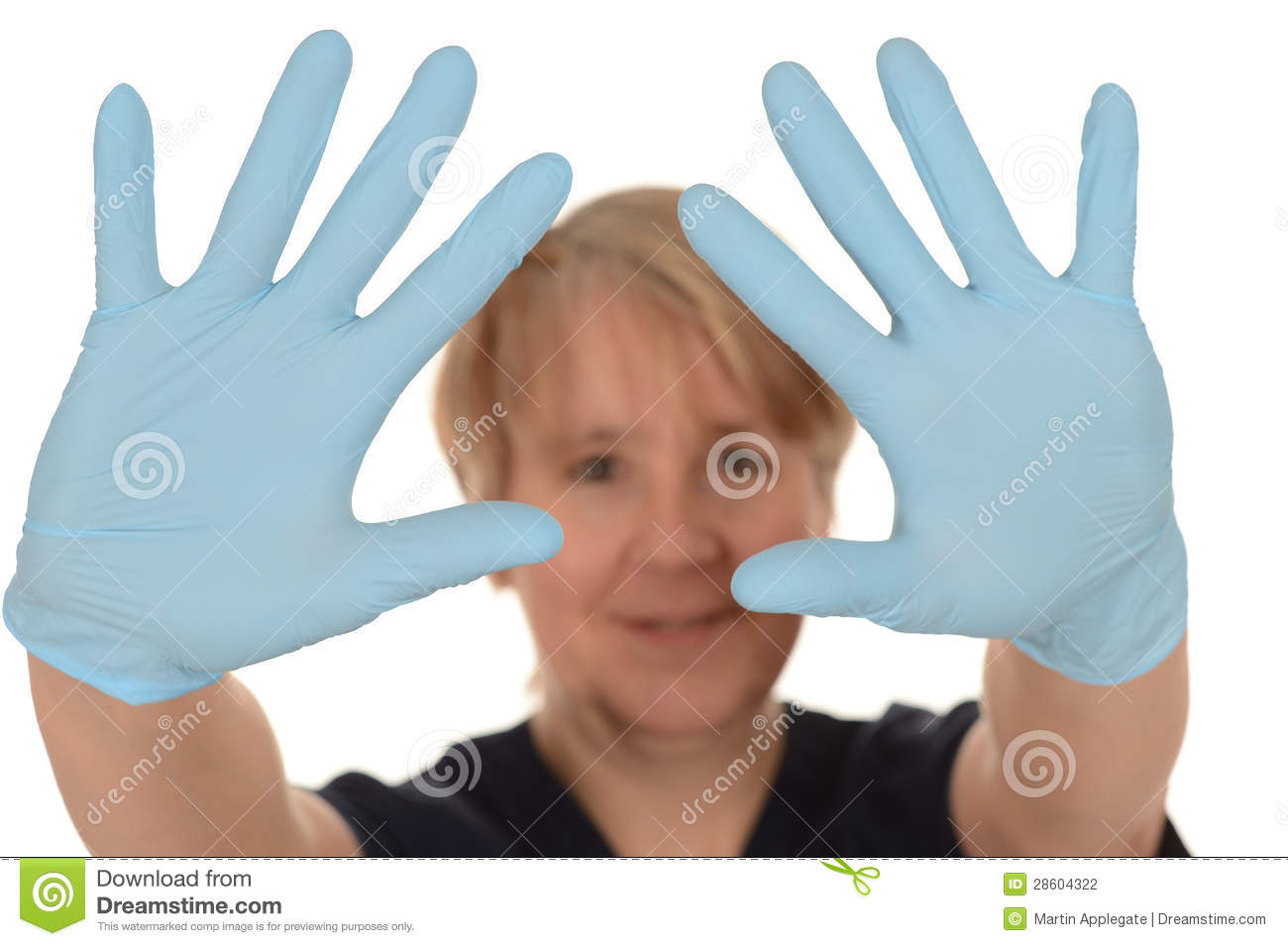 nurse showing blue latex gloves stock photography