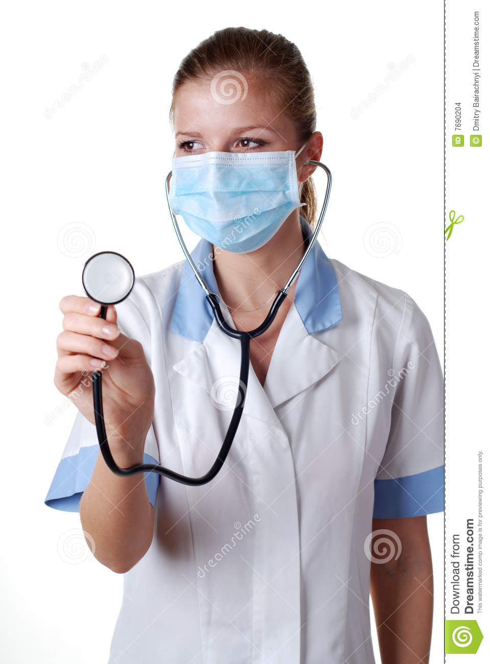 Nurse With Stethoscope And Mask Stock Images - Image: 7690204