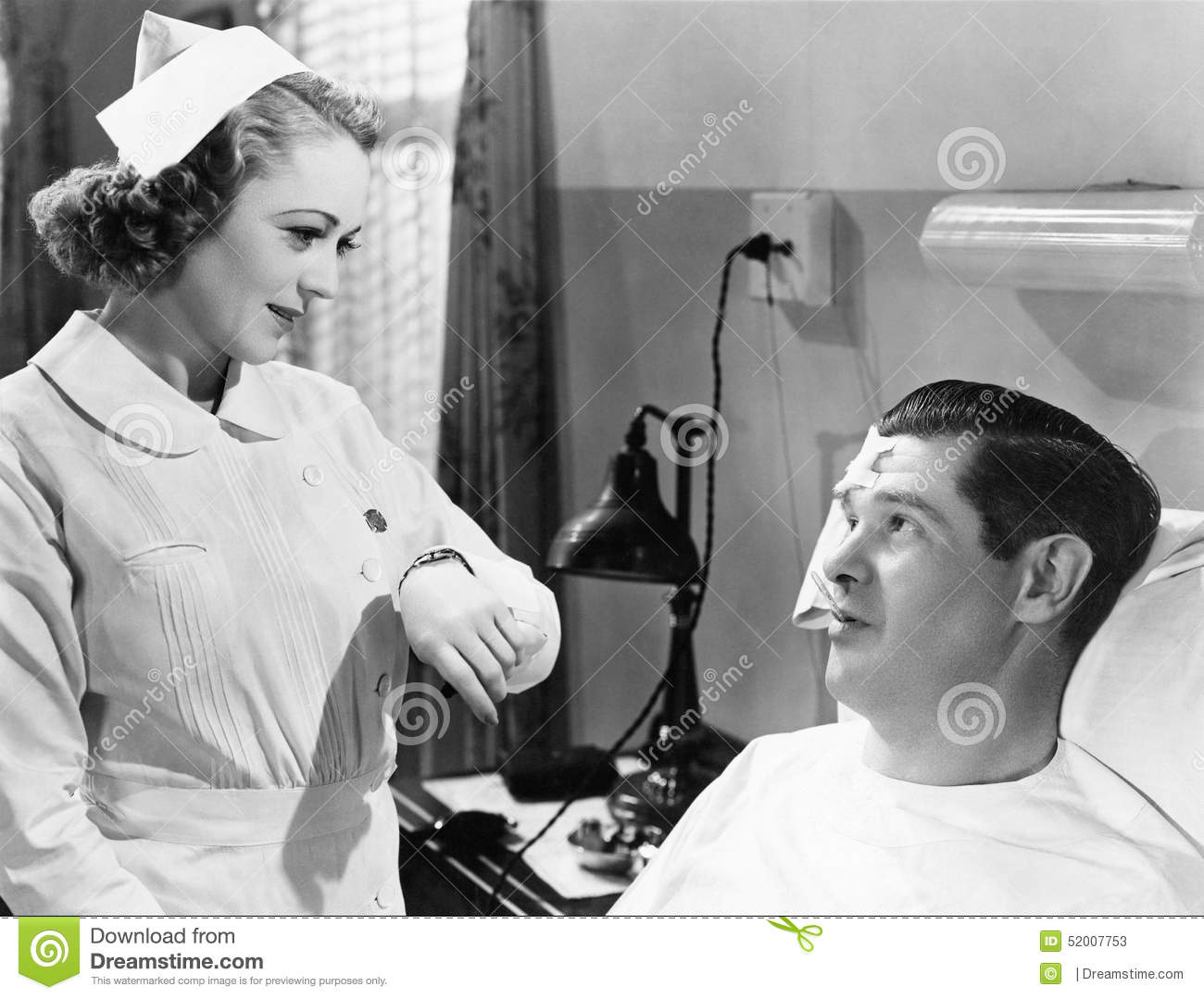 Download Nurse Taking Patients Temperature Stock Image - Image of 30, fondness: 52007753