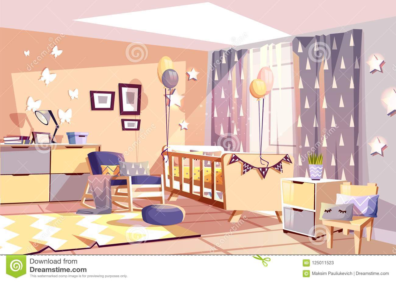 Nursery Baby Room Interior Vector Illustration Stock Vector Illustration Of Home House 125011523