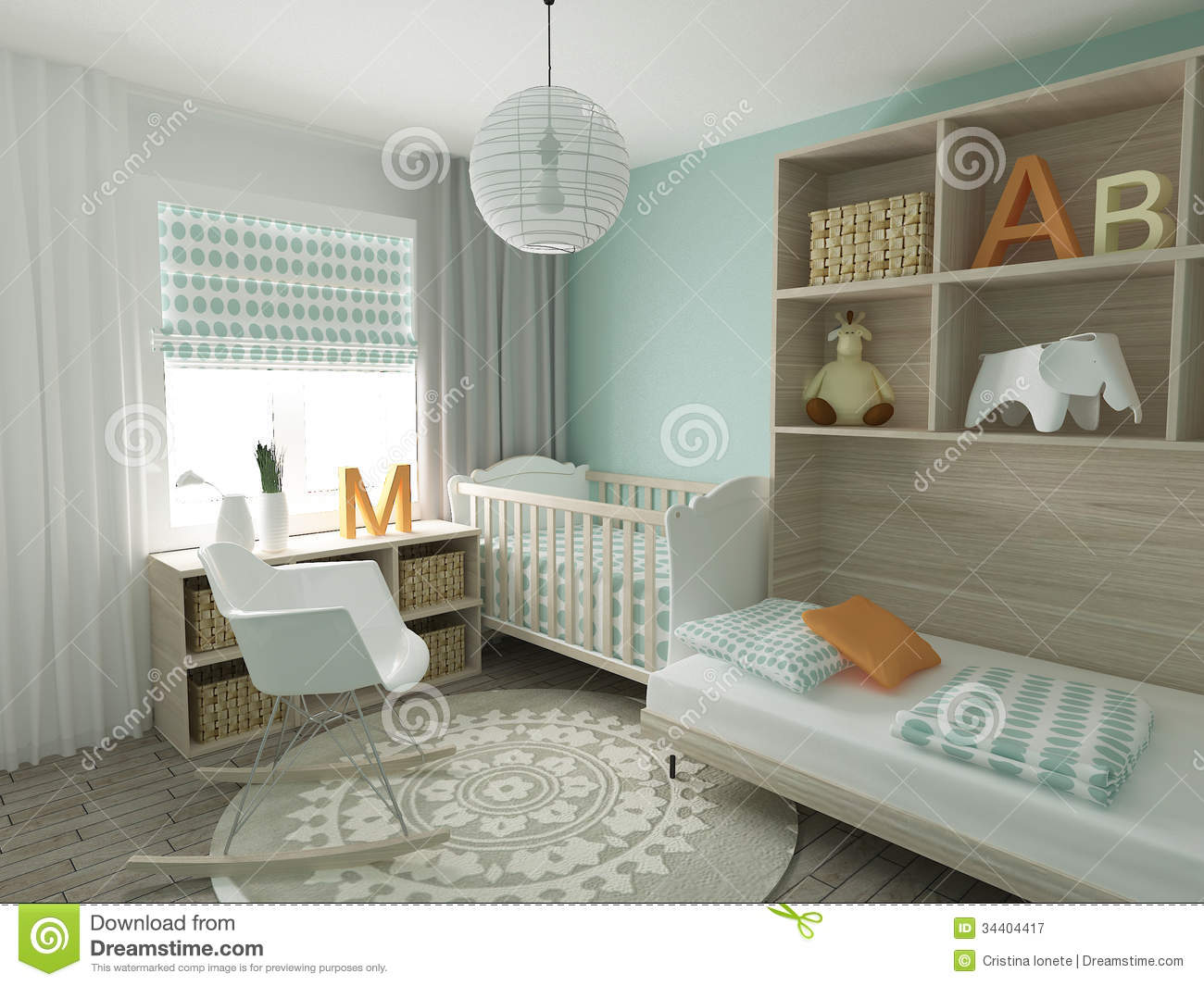 Nursery interior royalty free stock photography image 34404417 - Deco babybed ...