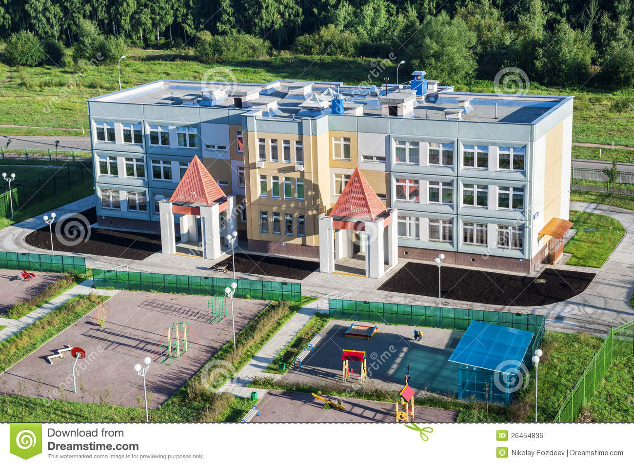 Nursery School Building With Playgrounds Stock Photo Image 26454836