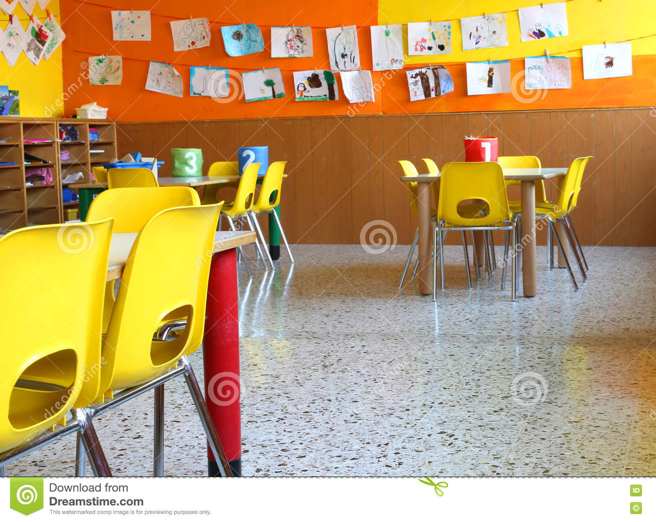 Nursery School With Tables And Chairs Stock Photo Image - Nursery tables and chairs
