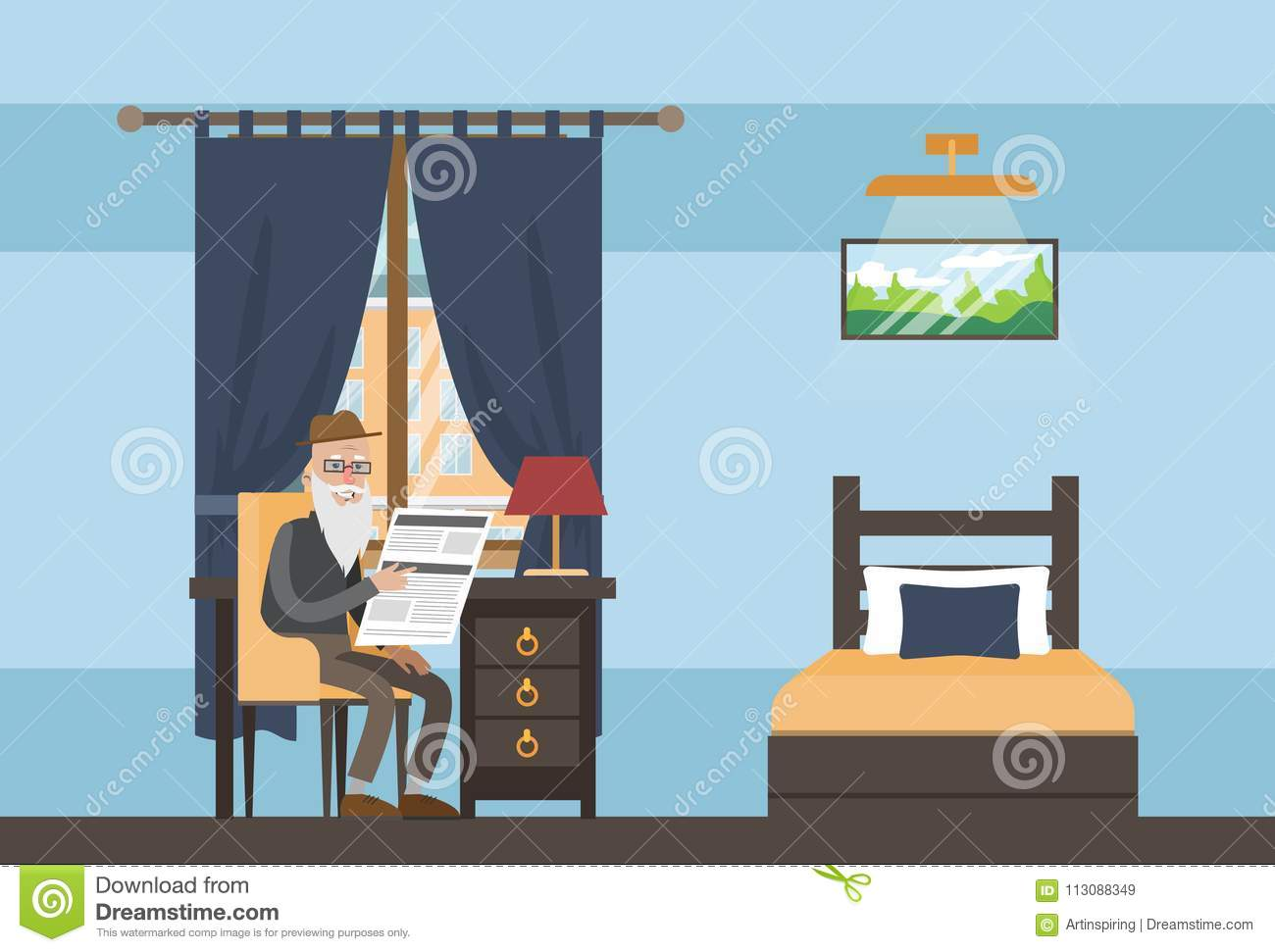 Download Nursing Home Interior. Stock Vector. Illustration Of Design    113088349