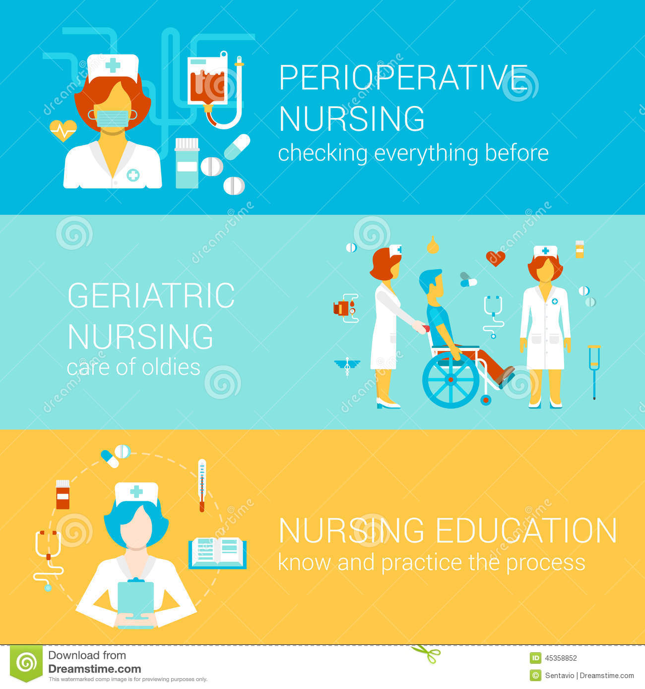 Nursing Medical Flat Banners Template Set Vector