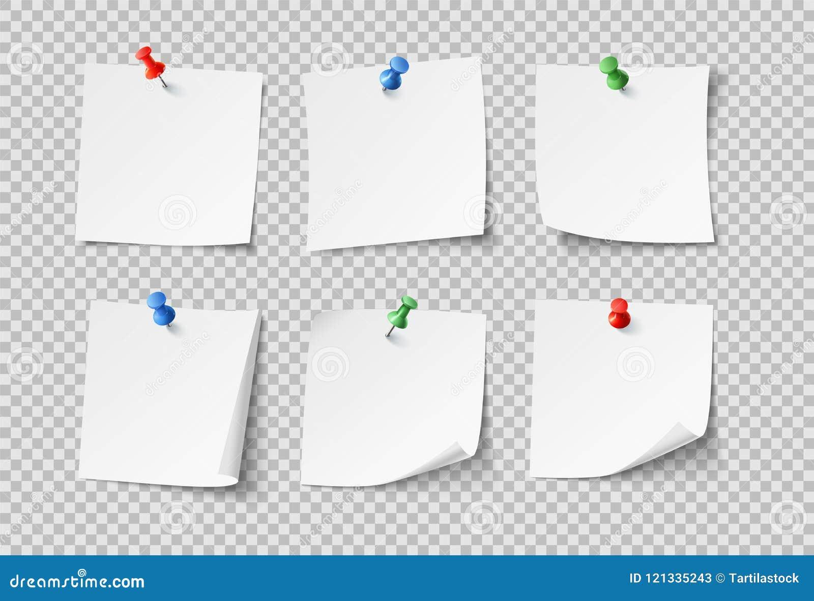 Nutowi papiery Białe puste kleiste notatki z kolor szpilkami Nikt papierowy wektor ustawiający odizolowywającym