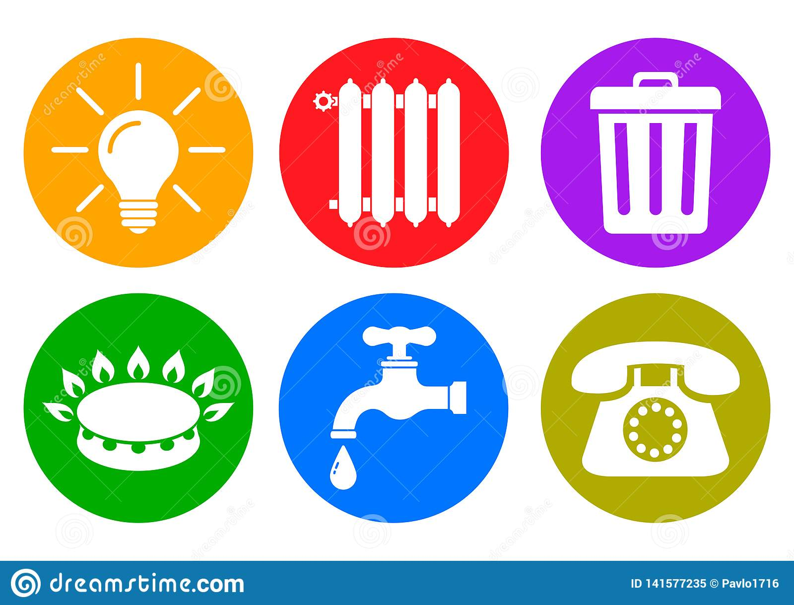 """Nutpictogrammen in vlakke stijl: water, gas, verlichting, het verwarmen, telefoon, afval†""""vector"""