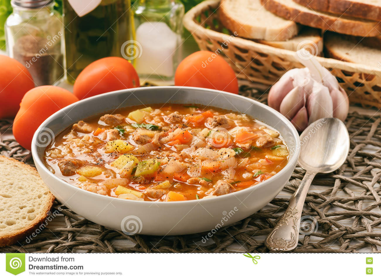 Nutrient soup with meat, rice and vegetables - mastava uzbek kitchen.